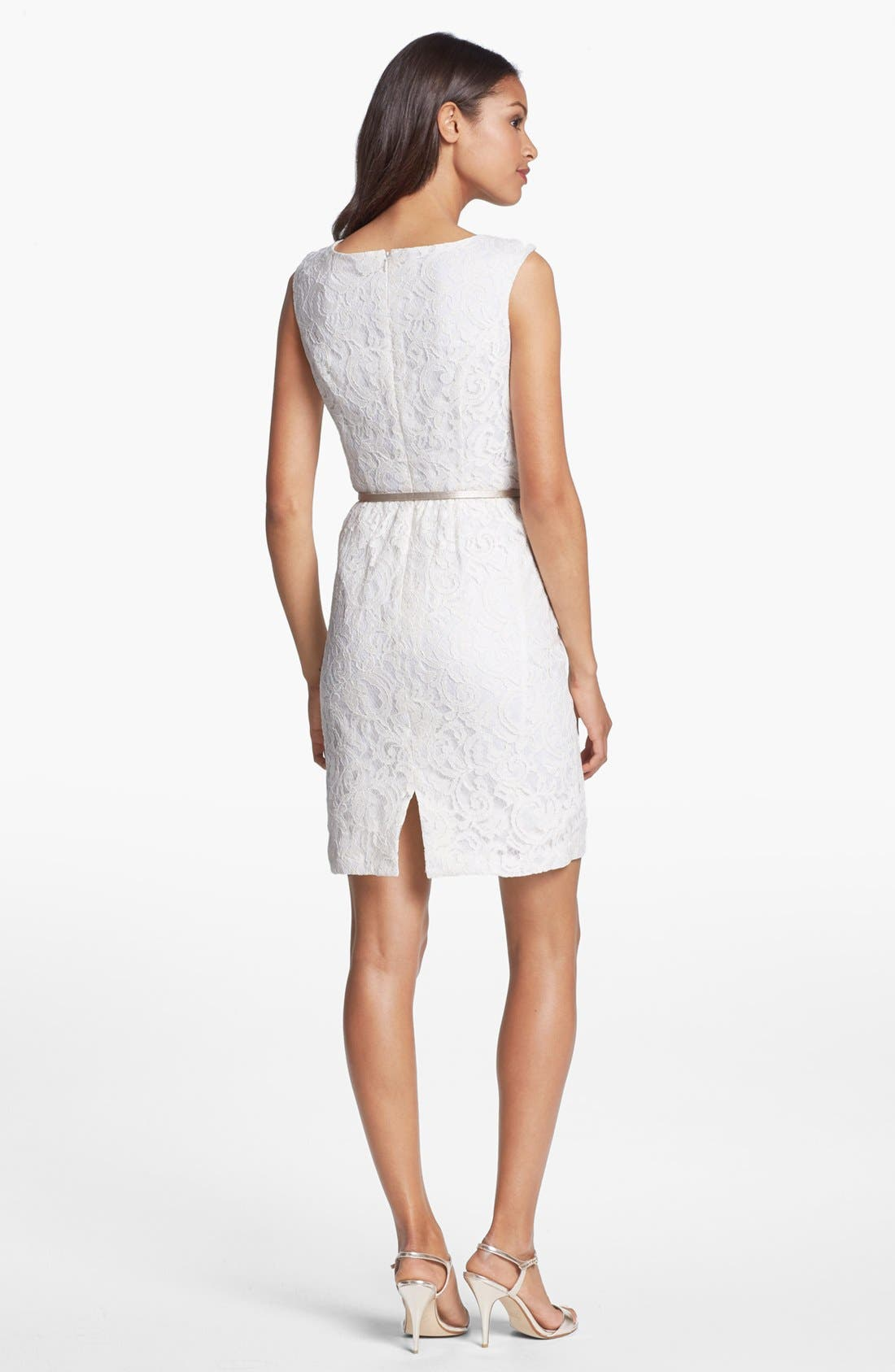Alternate Image 2  - Ellen Tracy Belted Lace Sheath Dress