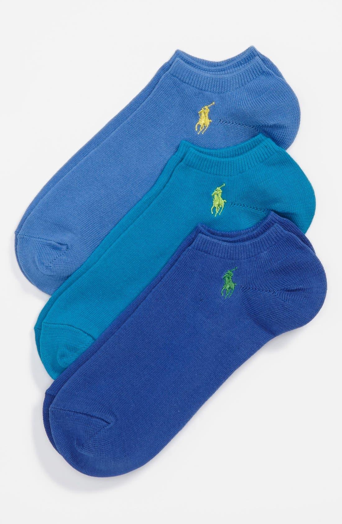 Alternate Image 1 Selected - Polo Ralph Lauren No-Show Socks (3-Pack) (Men)