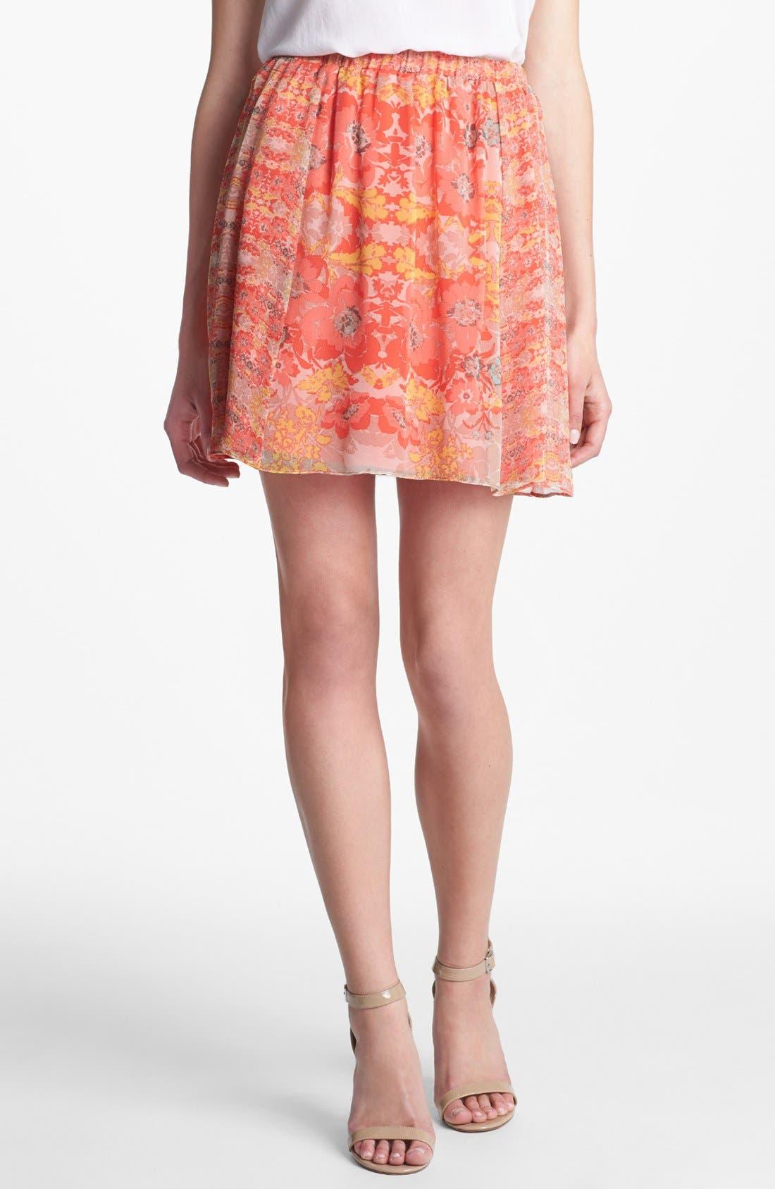 Alternate Image 1 Selected - Ella Moss Floral Print Silk Skirt