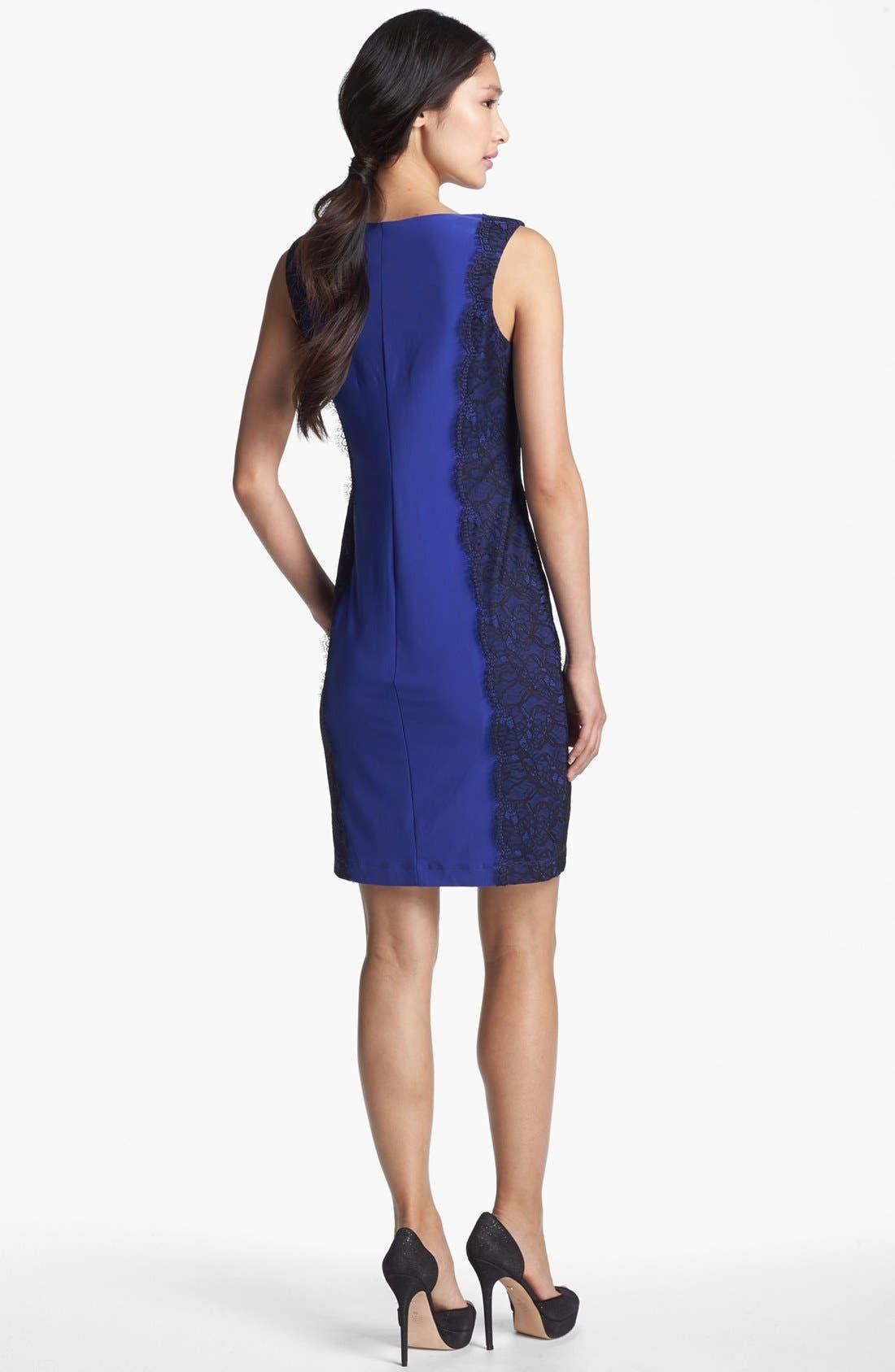 Alternate Image 2  - Isaac Mizrahi New York Lace Detail Jersey Sheath Dress
