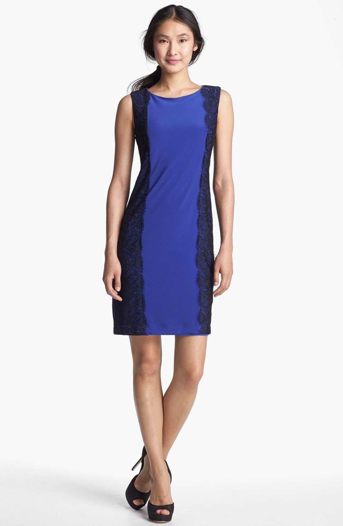 Main Image - Isaac Mizrahi New York Lace Detail Jersey Sheath Dress