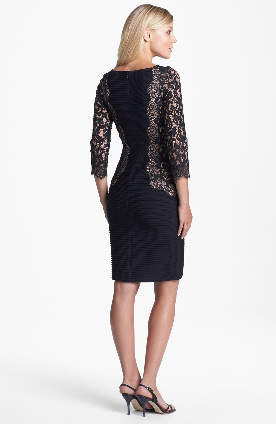 Alternate Image 2  - Tadashi Shoji Lace & Jersey Sheath Dress (Regular & Petite)
