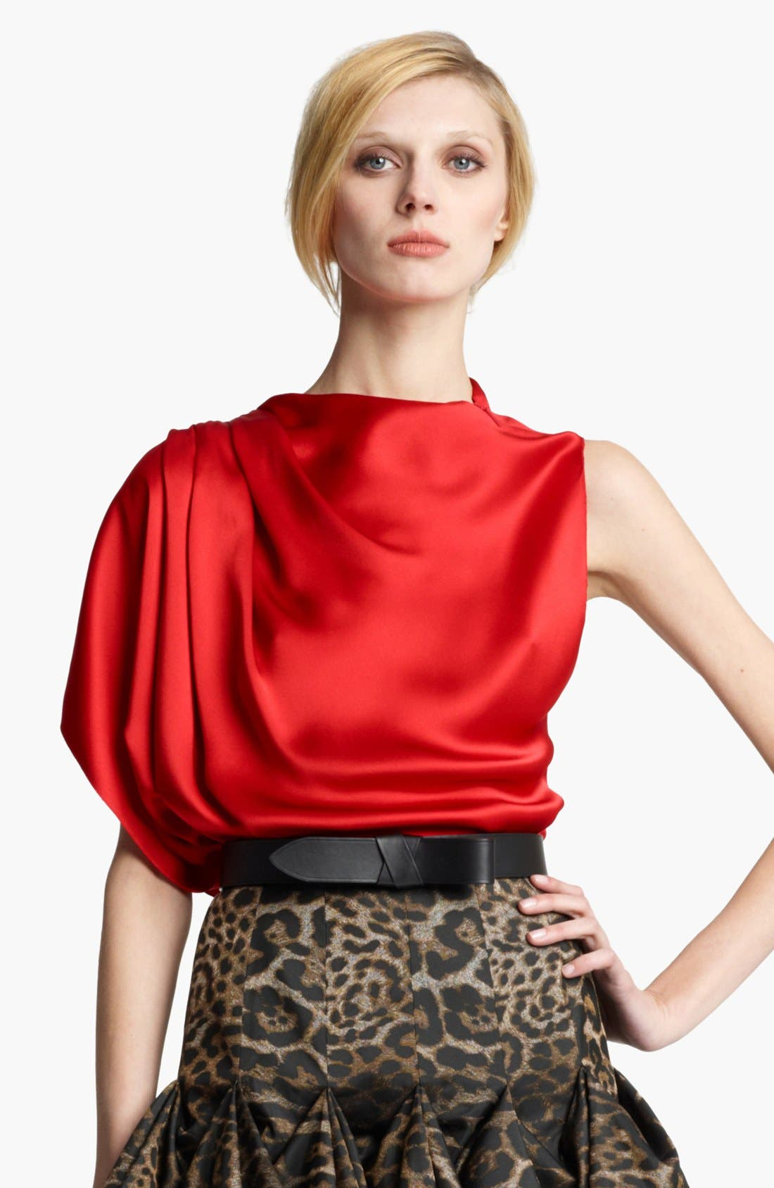Alternate Image 1 Selected - Lanvin Draped Washed Satin Blouse