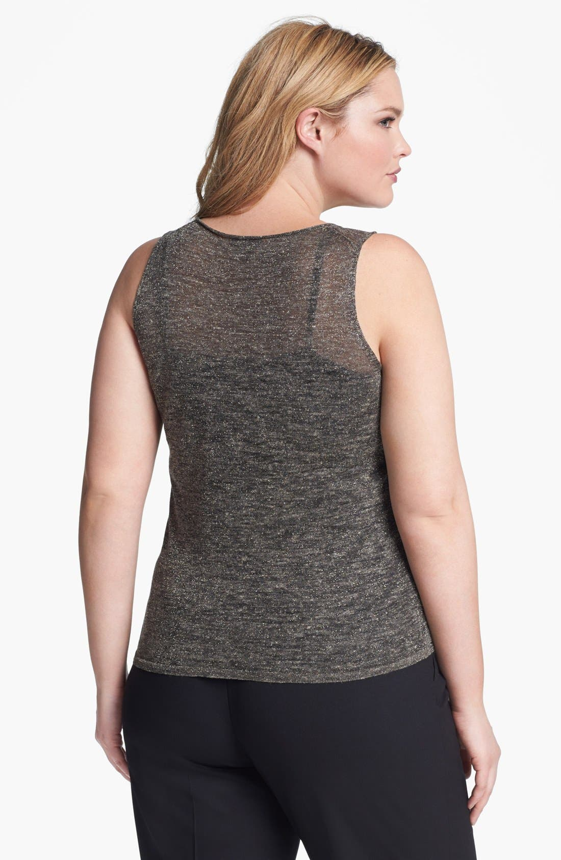 Alternate Image 2  - Eileen Fisher Metallic Knit Tank (Plus Size)