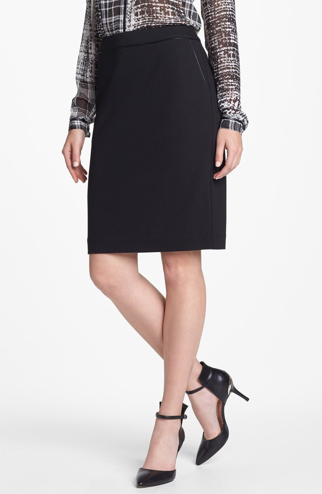 Main Image - Vince Camuto Faux Leather Trim Pencil Skirt (Nordstrom Exclusive)