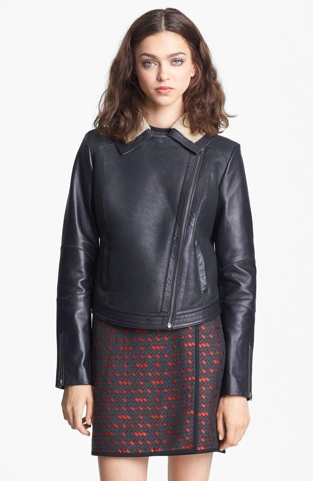 Alternate Image 3  - Miss Wu Genuine Shearling Moto Jacket (Nordstrom Exclusive)