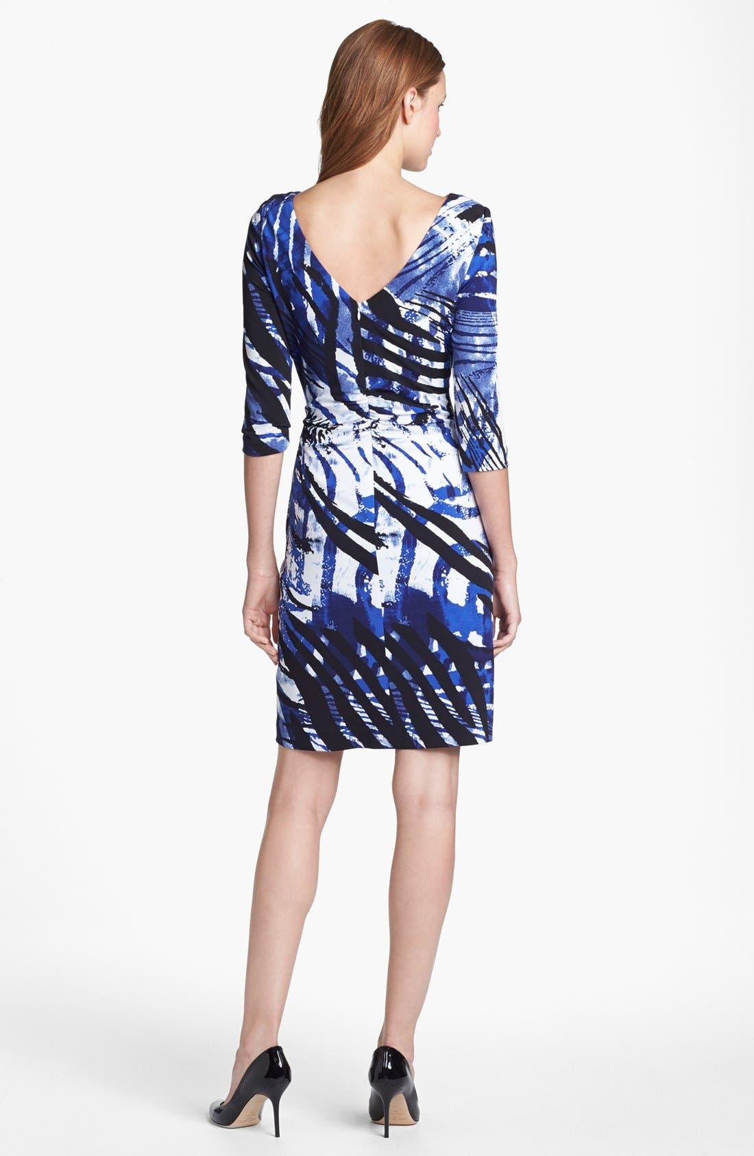 Alternate Image 2  - Kay Unger Cutout Detail Print Jersey Sheath Dress