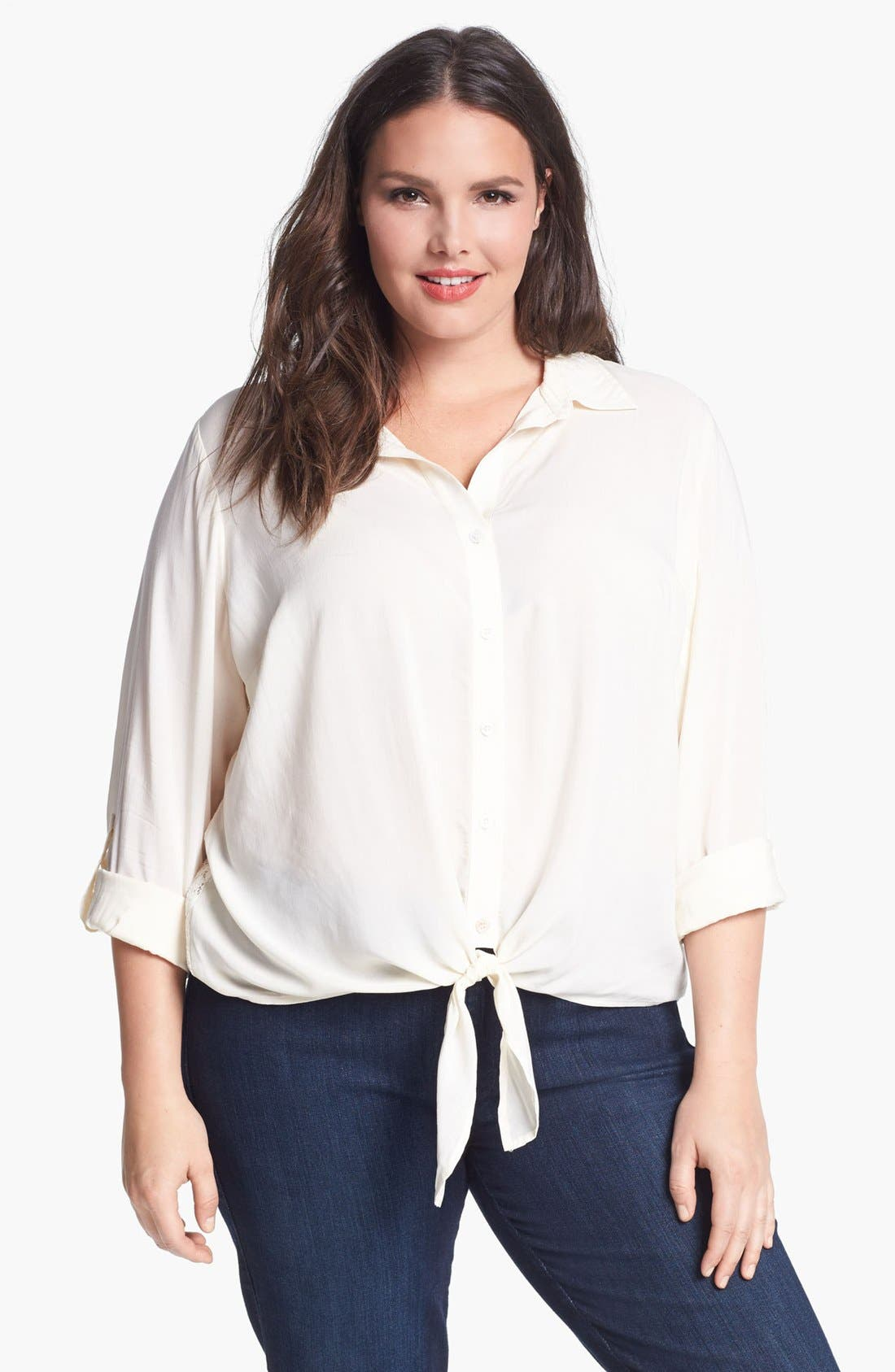 Main Image - Two by Vince Camuto Front Tie Lace Back Shirt (Plus Size)