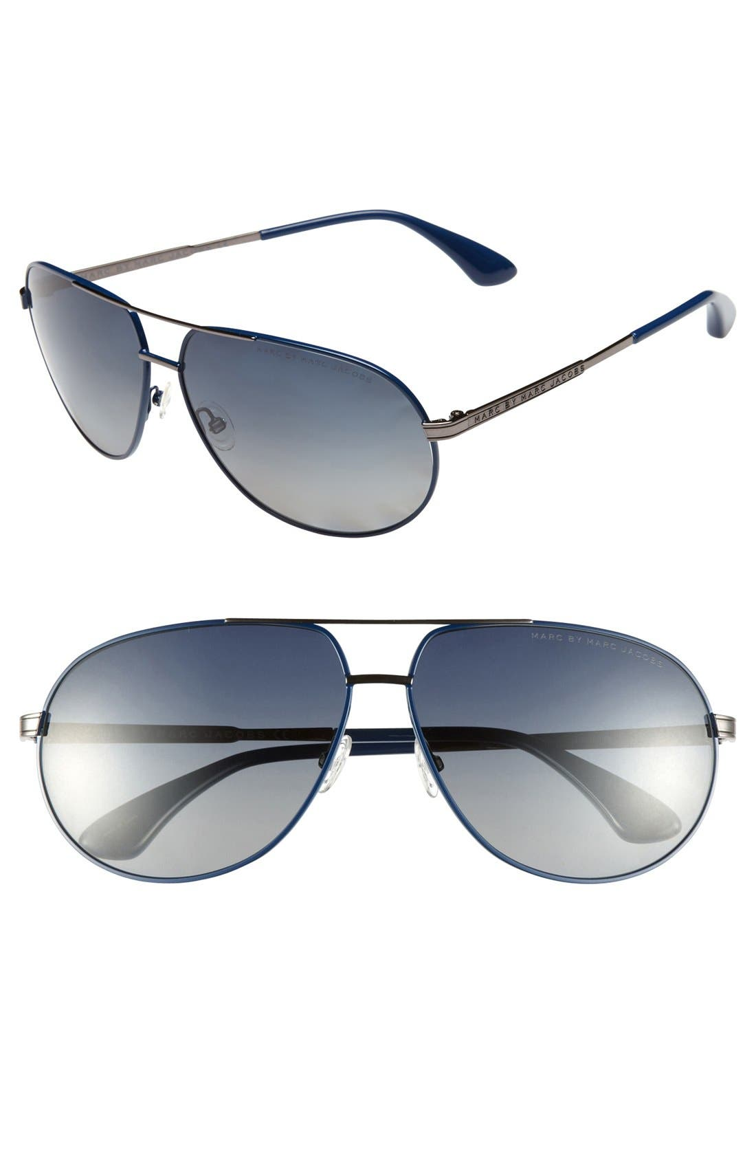 Main Image - MARC BY MARC JACOBS 63mm Polarized Metal Aviator Sunglasses