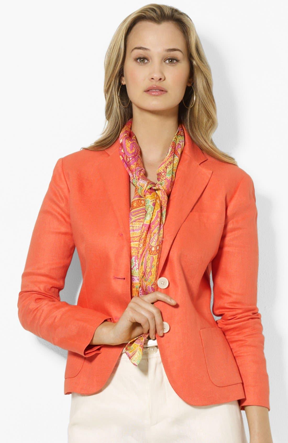 Main Image - Lauren Ralph Lauren Three Button Jacket (Petite)