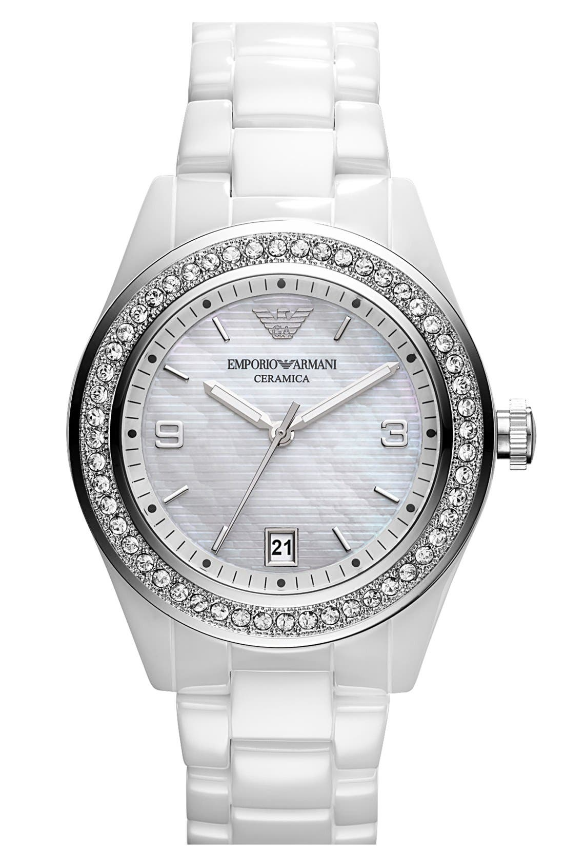 Main Image - Emporio Armani Medium Round Crystal & Ceramic Watch, 39mm