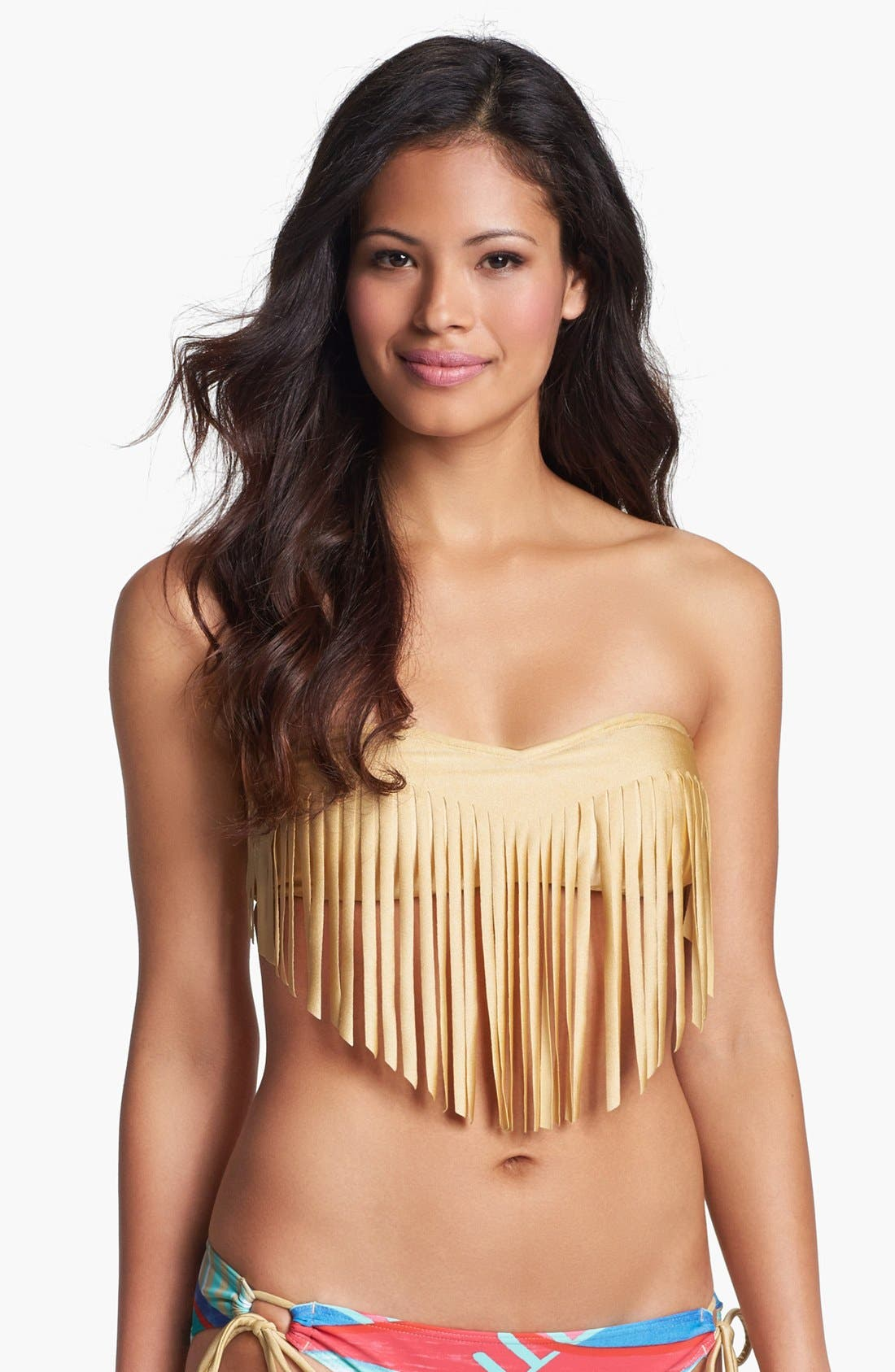 Main Image - Roxy 'Surf Essentials' Fringe Bandeau Bikini Top