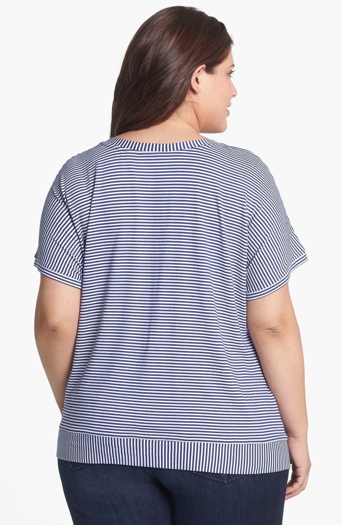 Alternate Image 2  - Sejour Mitered Stripe V-Neck Tee (Plus Size)