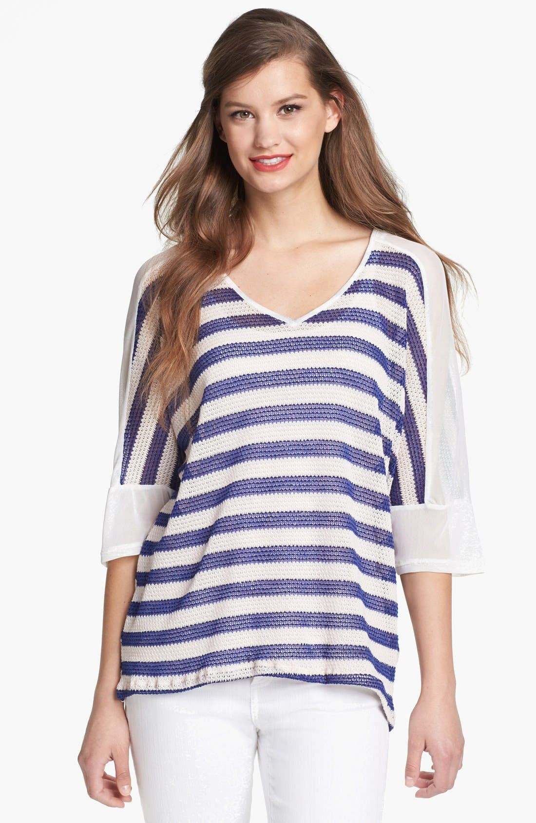 Main Image - MOD.lusive Sheer Shoulder Stripe Sweater