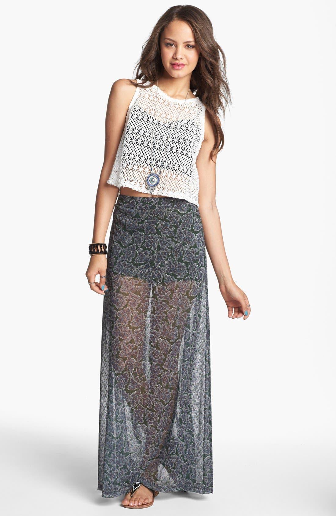 Main Image - Mimi Chica Print Sheer Maxi Skirt (Juniors)