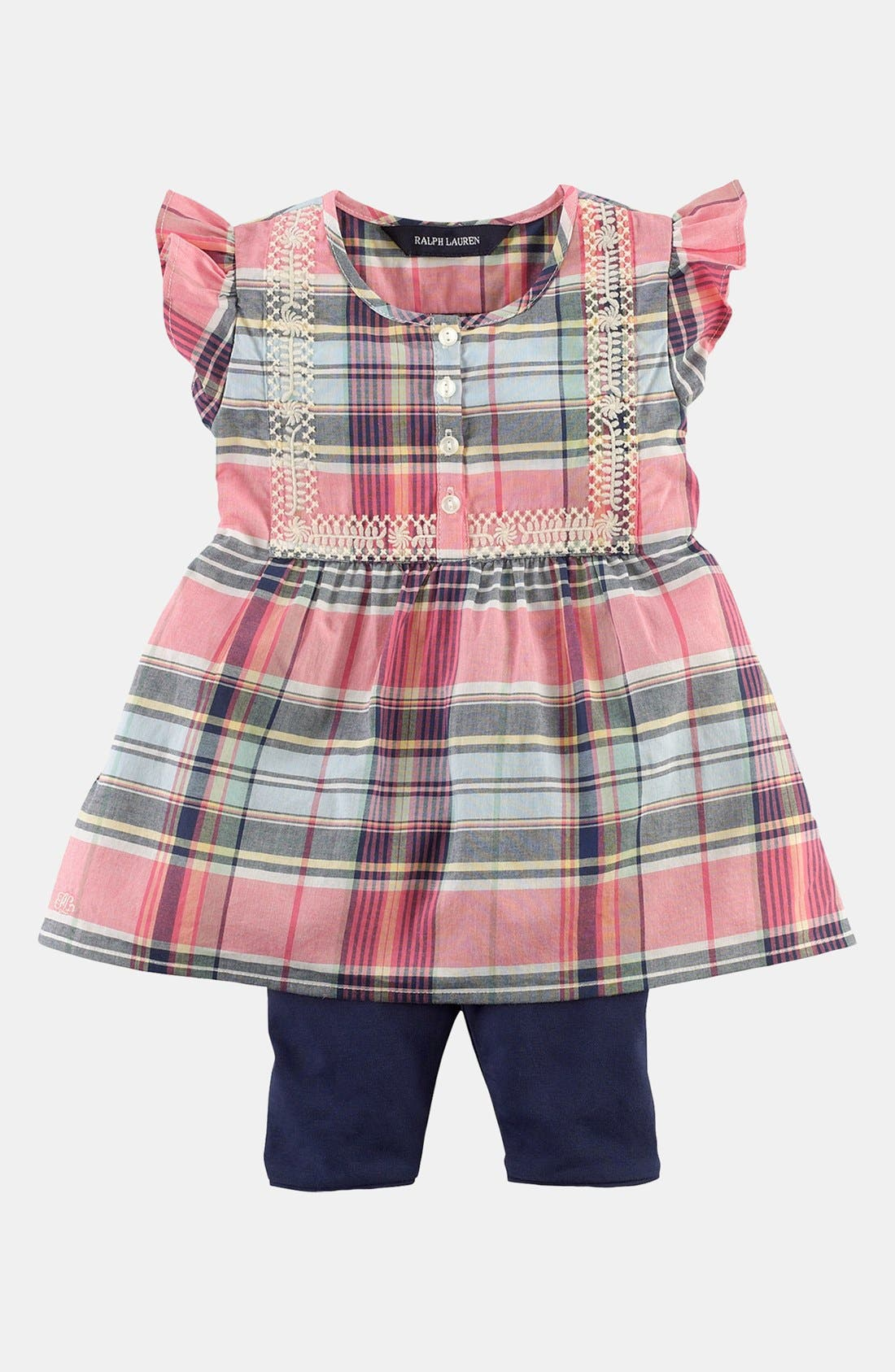 Alternate Image 1 Selected - Ralph Lauren Shirt & Leggings (Baby Girls)