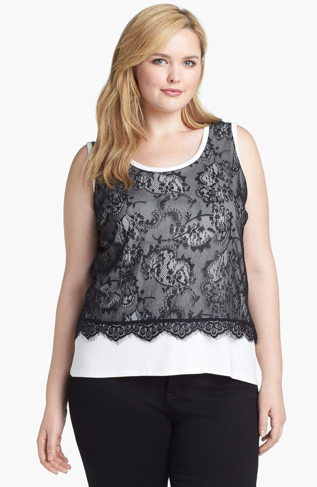 Alternate Image 1 Selected - Olivia Moon Lace Overlay Tank (Plus Size)
