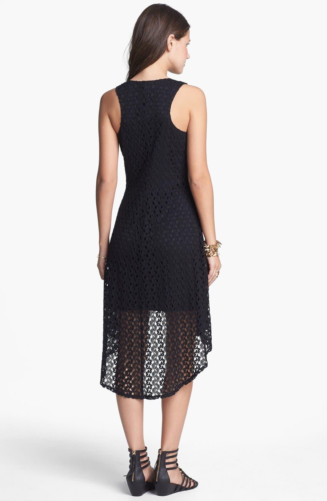 Alternate Image 2  - As U Wish Crochet High/Low Dress (Juniors)