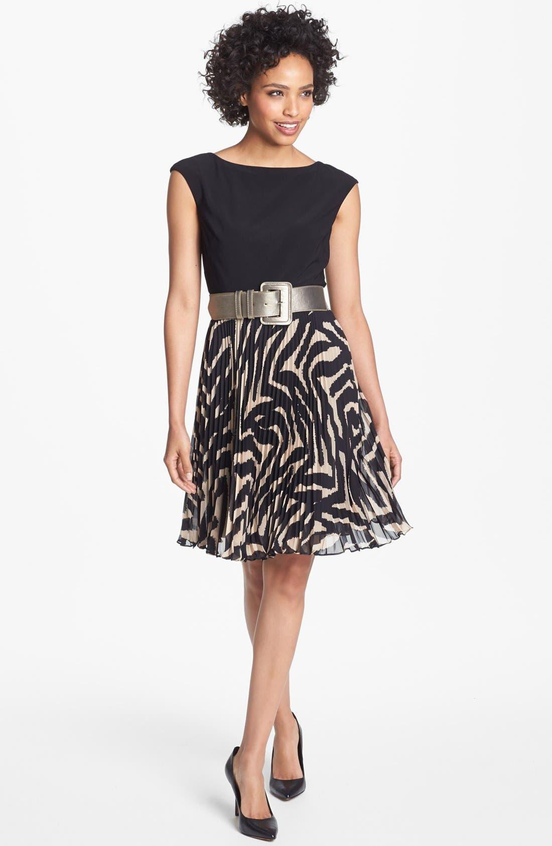 Main Image - Eliza J Mixed Media Fit & Flare Dress