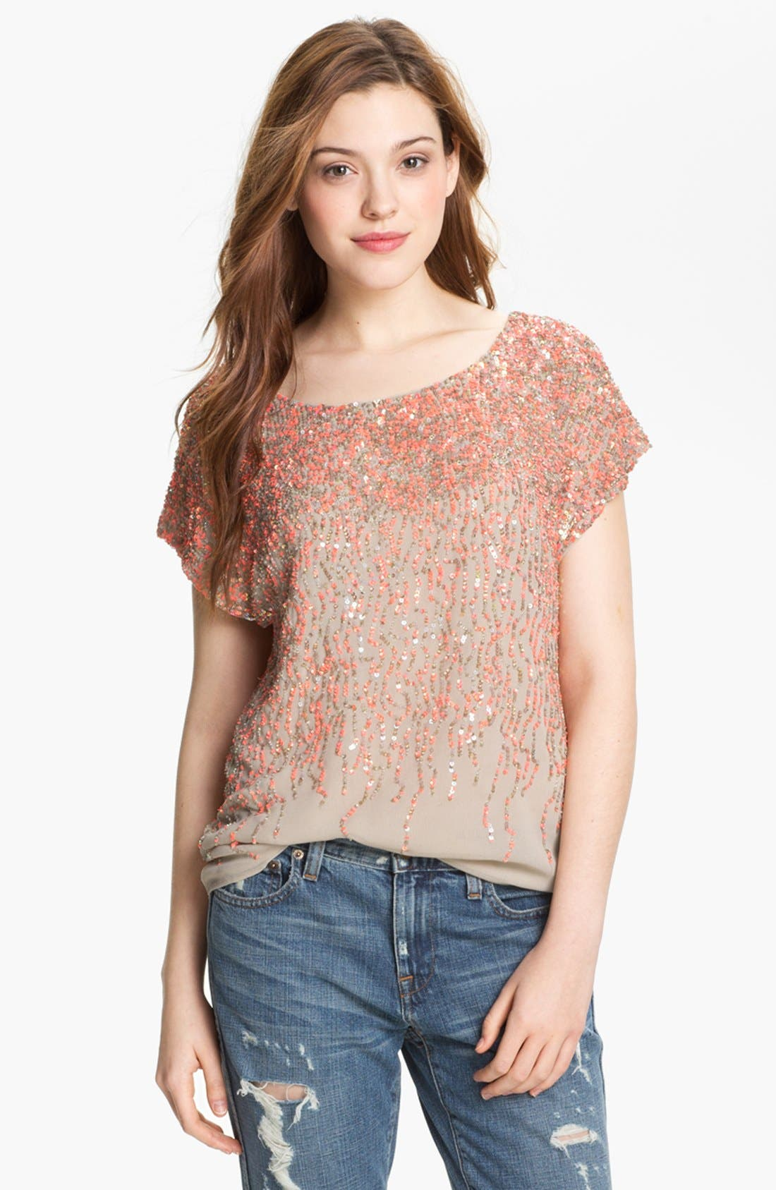 Alternate Image 1 Selected - Vince Camuto Sequin Blouse (Petite)