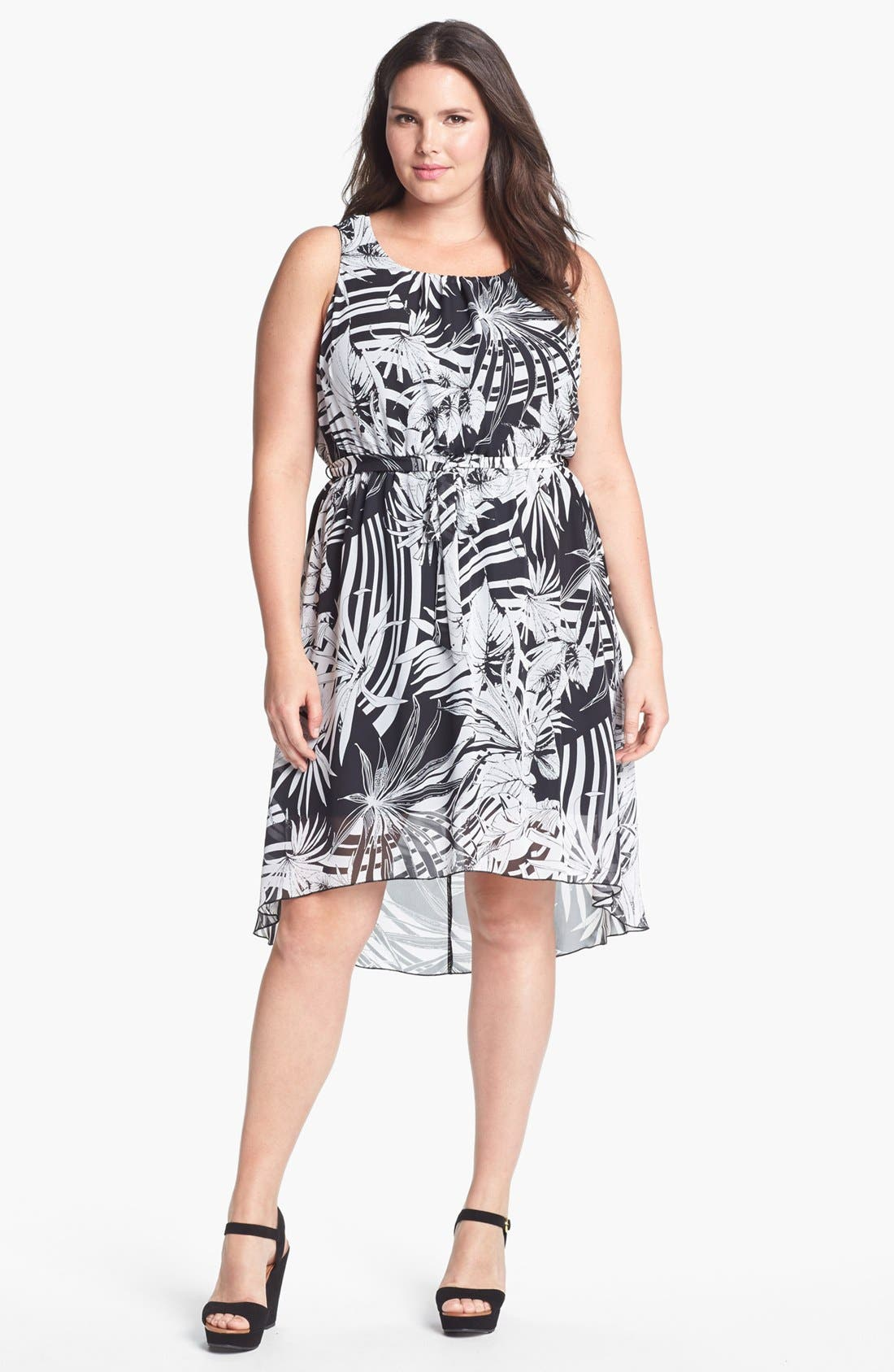 Alternate Image 1 Selected - Evans Print High/Low Chiffon Dress (Plus Size)