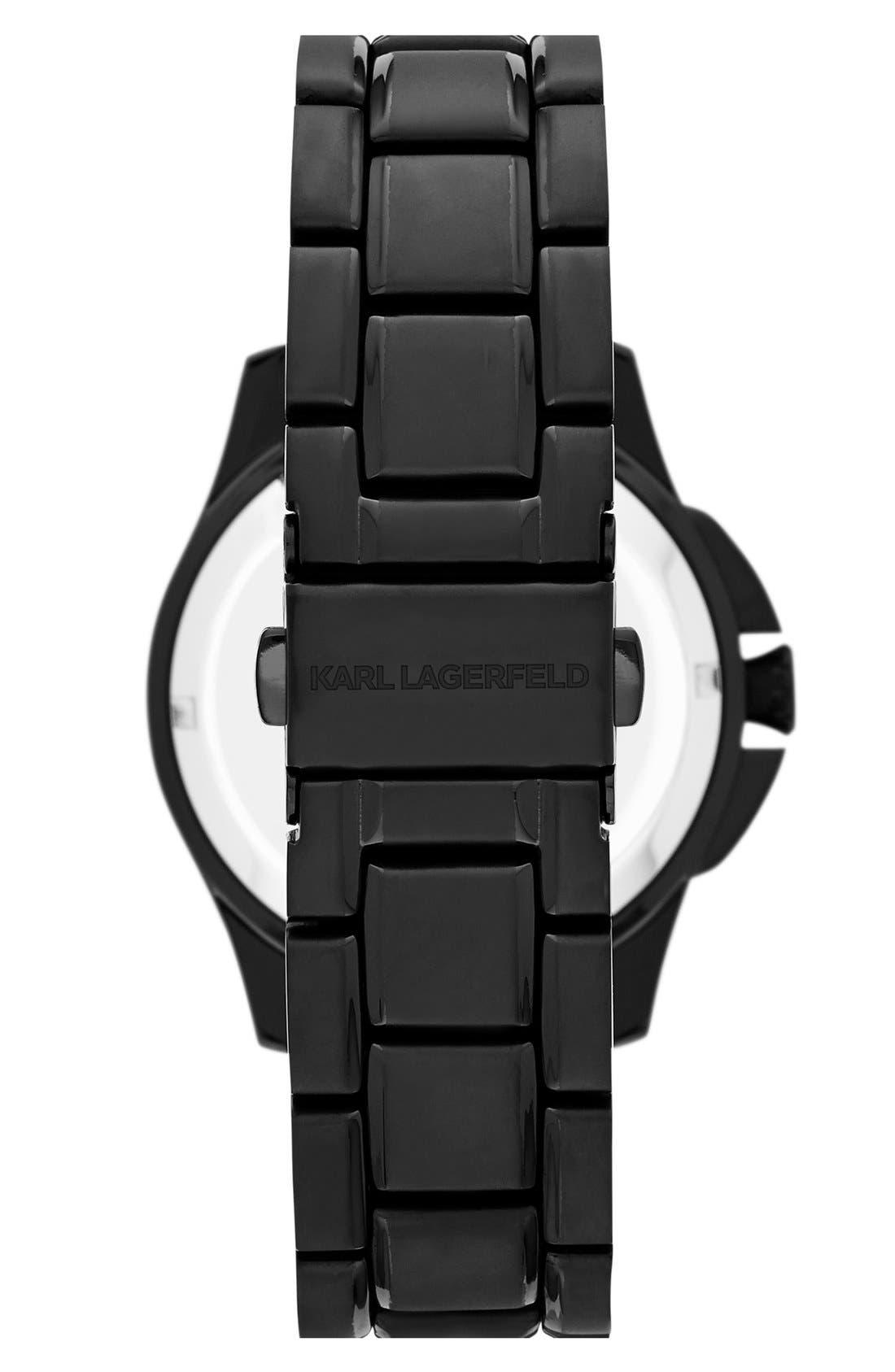 Alternate Image 2  - KARL LAGERFELD '7' Faceted Bezel Bracelet Watch, 36mm
