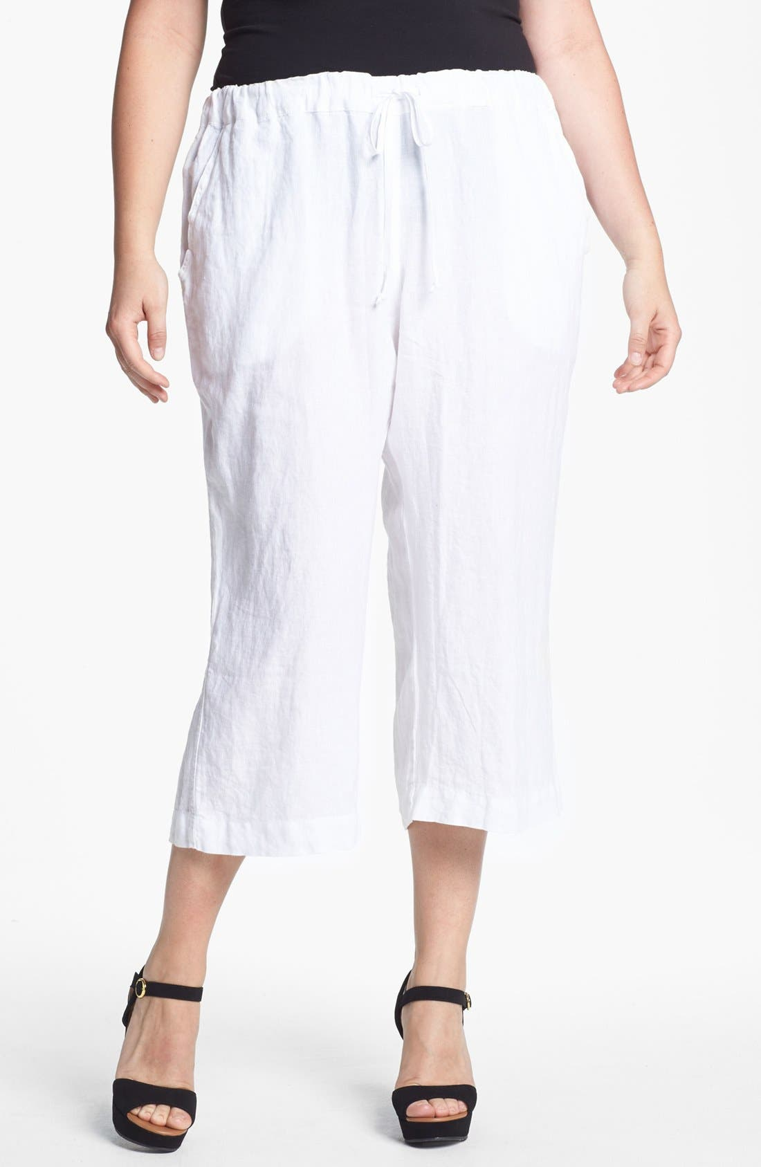 Main Image - Allen Allen Crop Linen Pants (Plus Size)