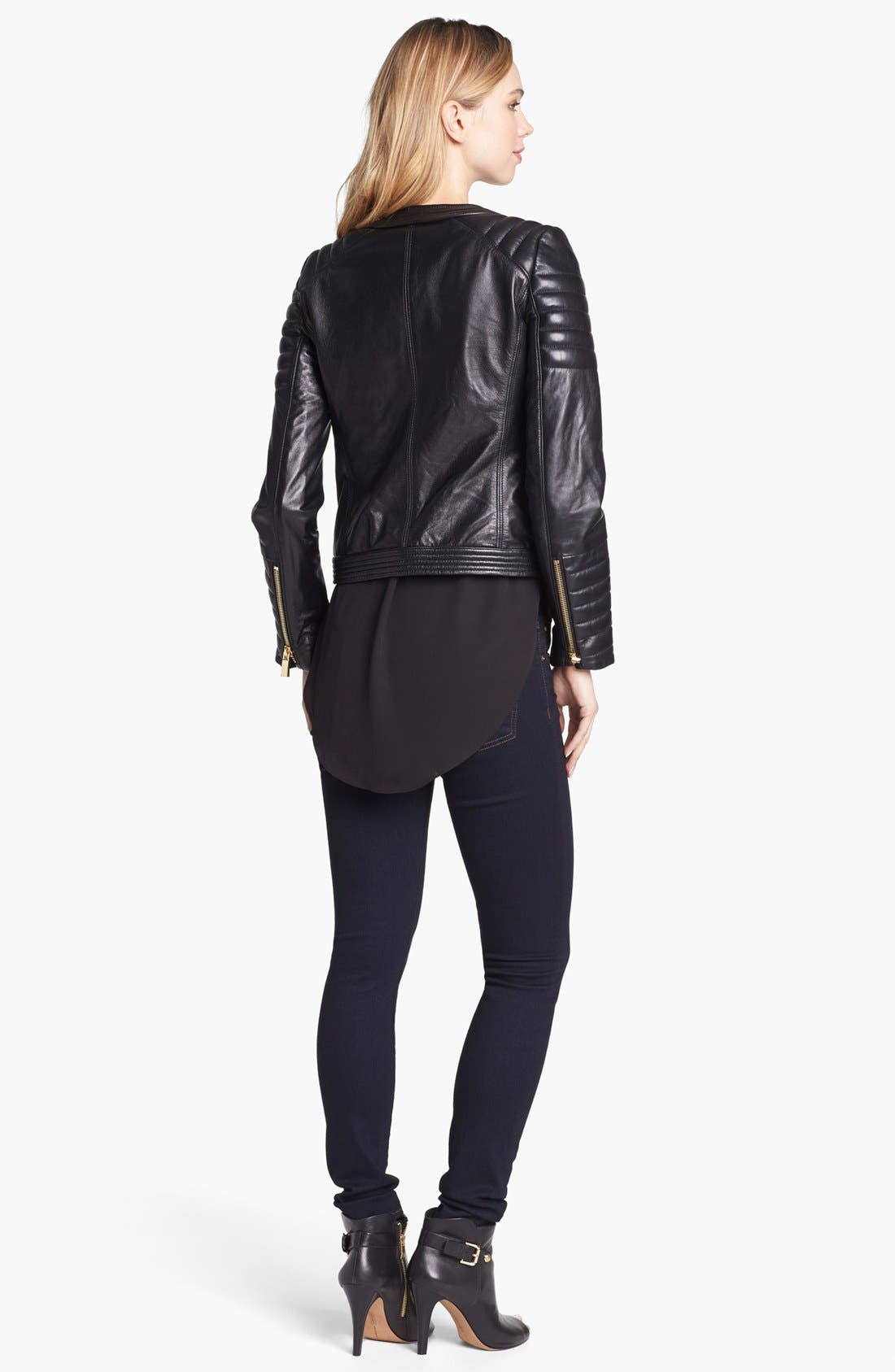 Alternate Image 4  - Vince Camuto Trapunto Quilted Leather Moto Jacket