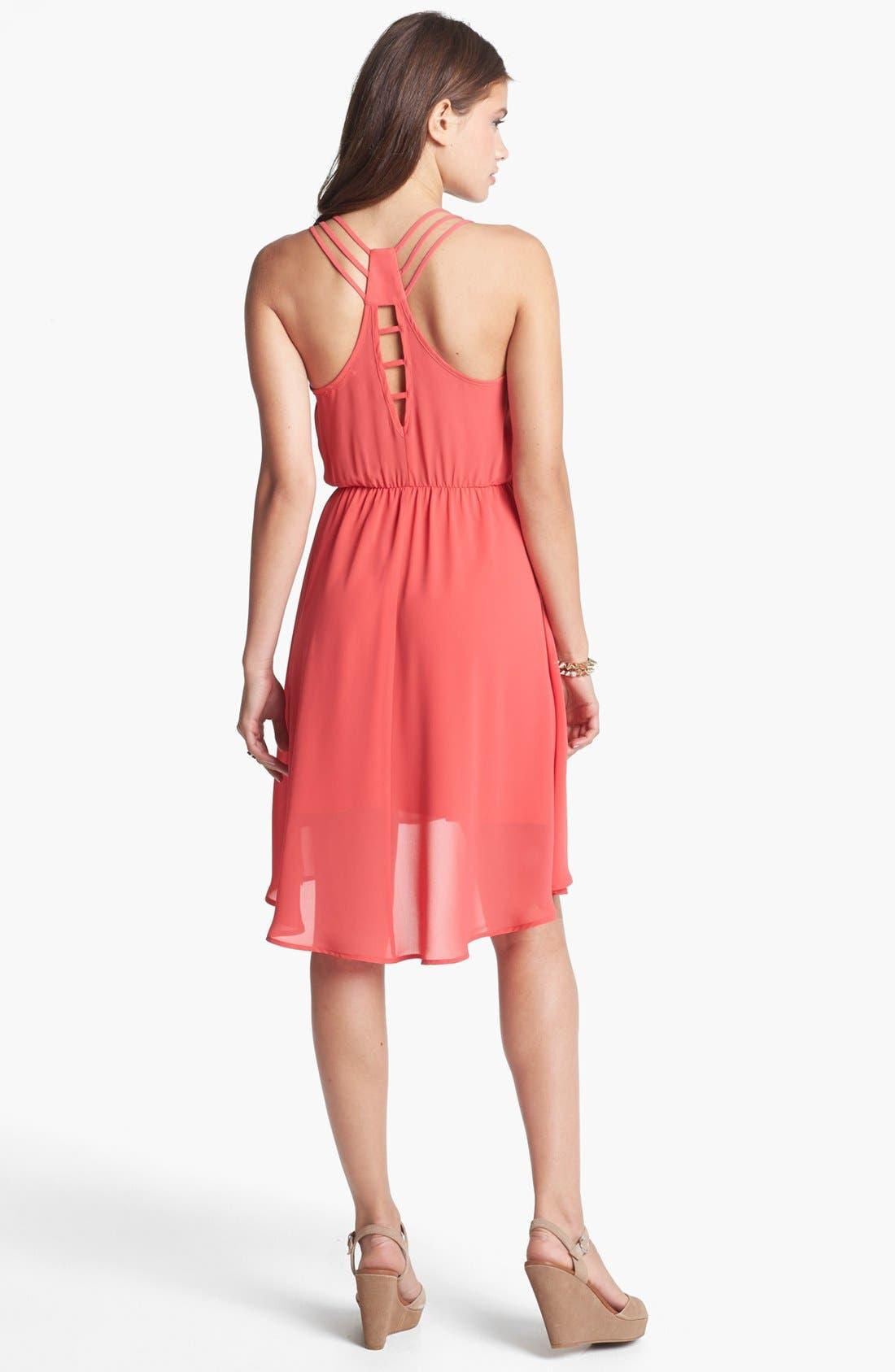 Alternate Image 2  - Lush Strappy High/Low Dress (Juniors)