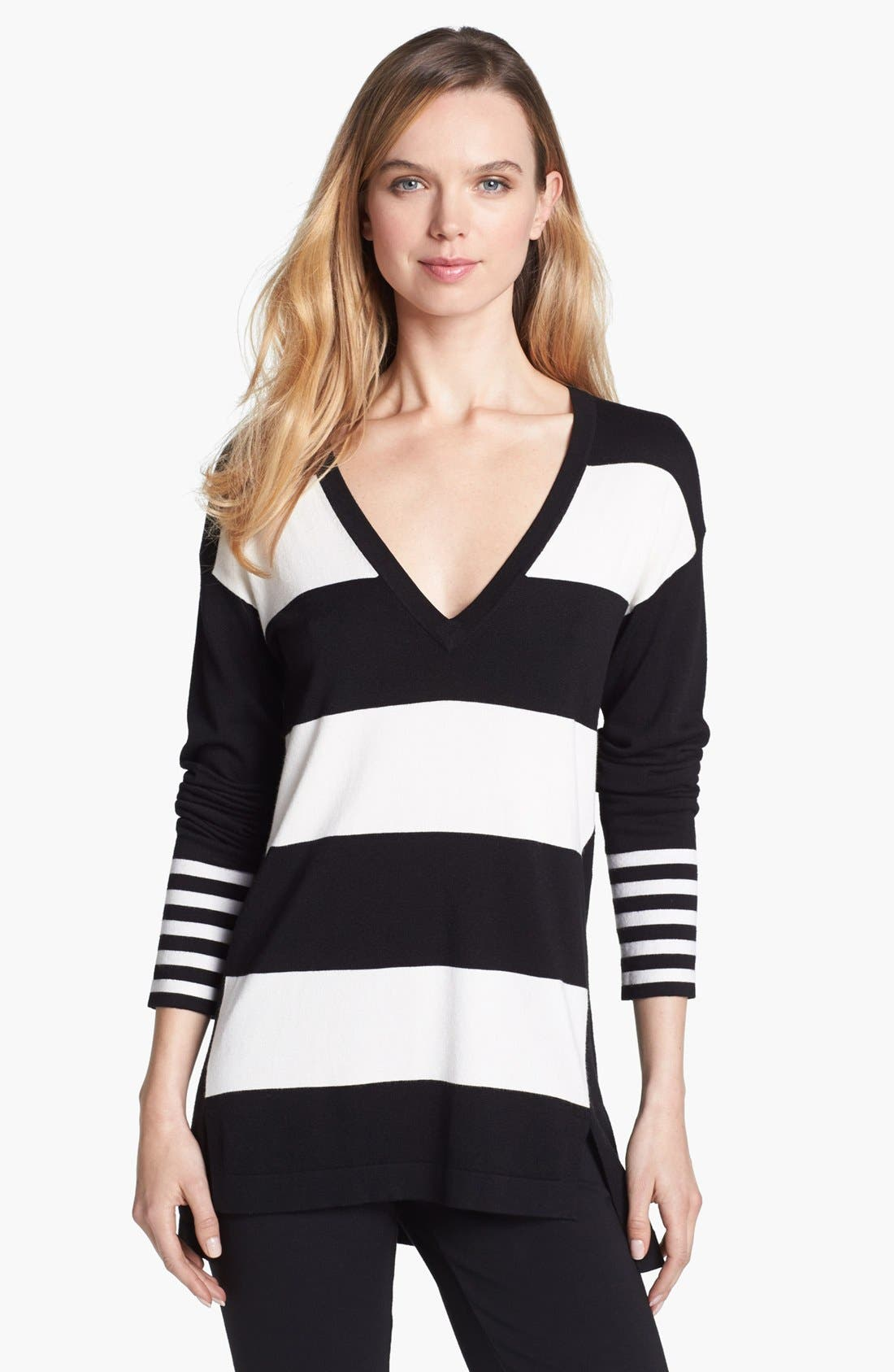 Alternate Image 1 Selected - Vince Camuto Variegated Stripe Tunic Sweater