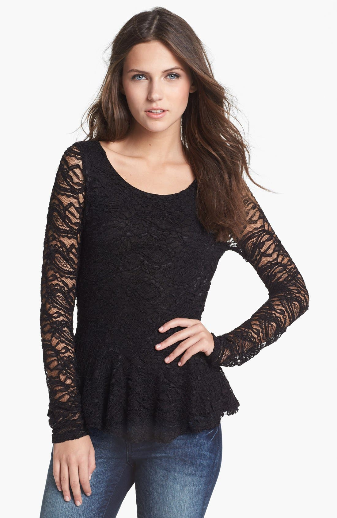 Alternate Image 1 Selected - Haute Society Long Sleeve Lace Peplum Top (Juniors)