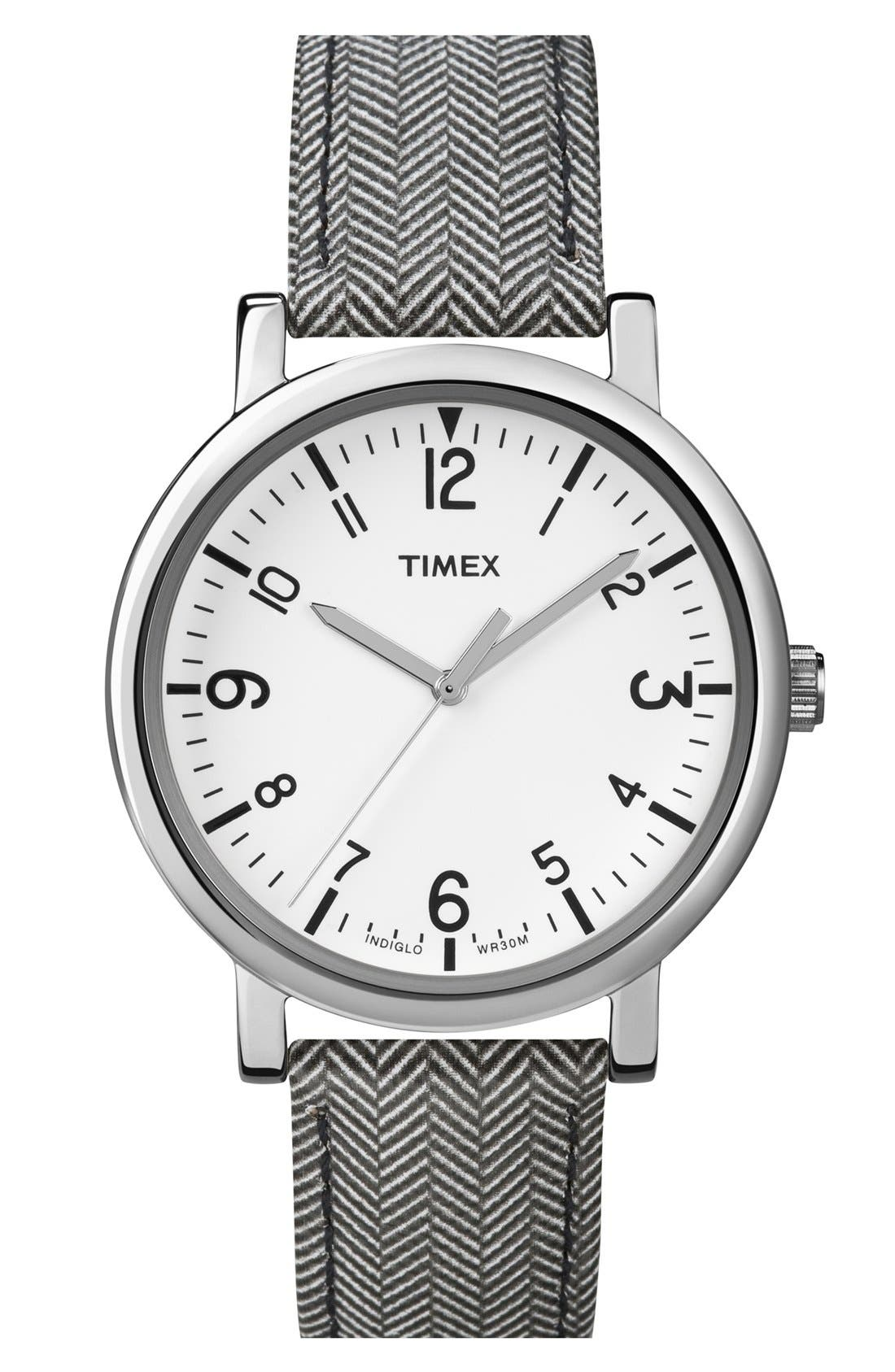 Main Image - Timex® Round Tweed Print Leather Strap Watch, 38mm