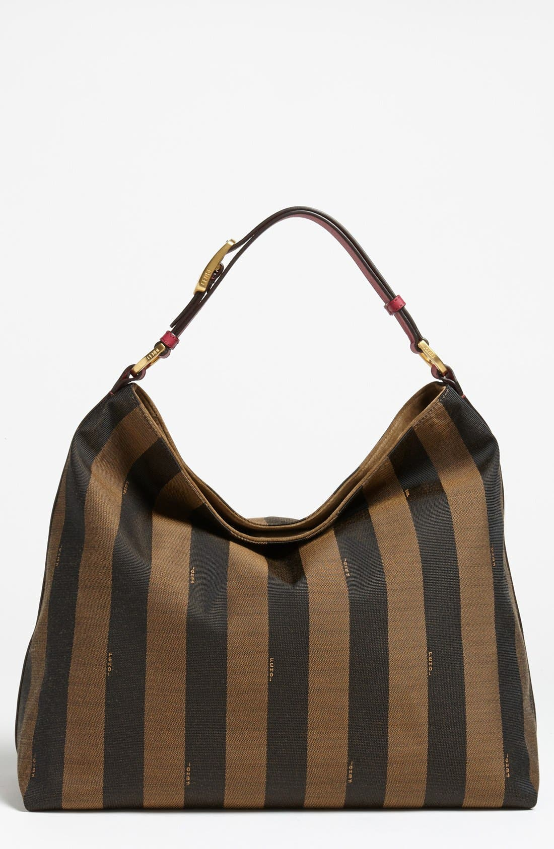 Alternate Image 1 Selected - Fendi 'Large Pequin' Logo Jacquard Hobo