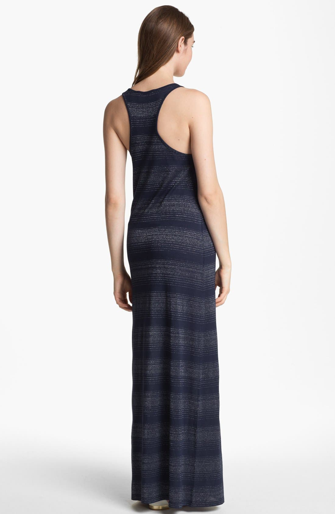 Alternate Image 2  - Two by Vince Camuto Metallic Stripe Maxi Dress