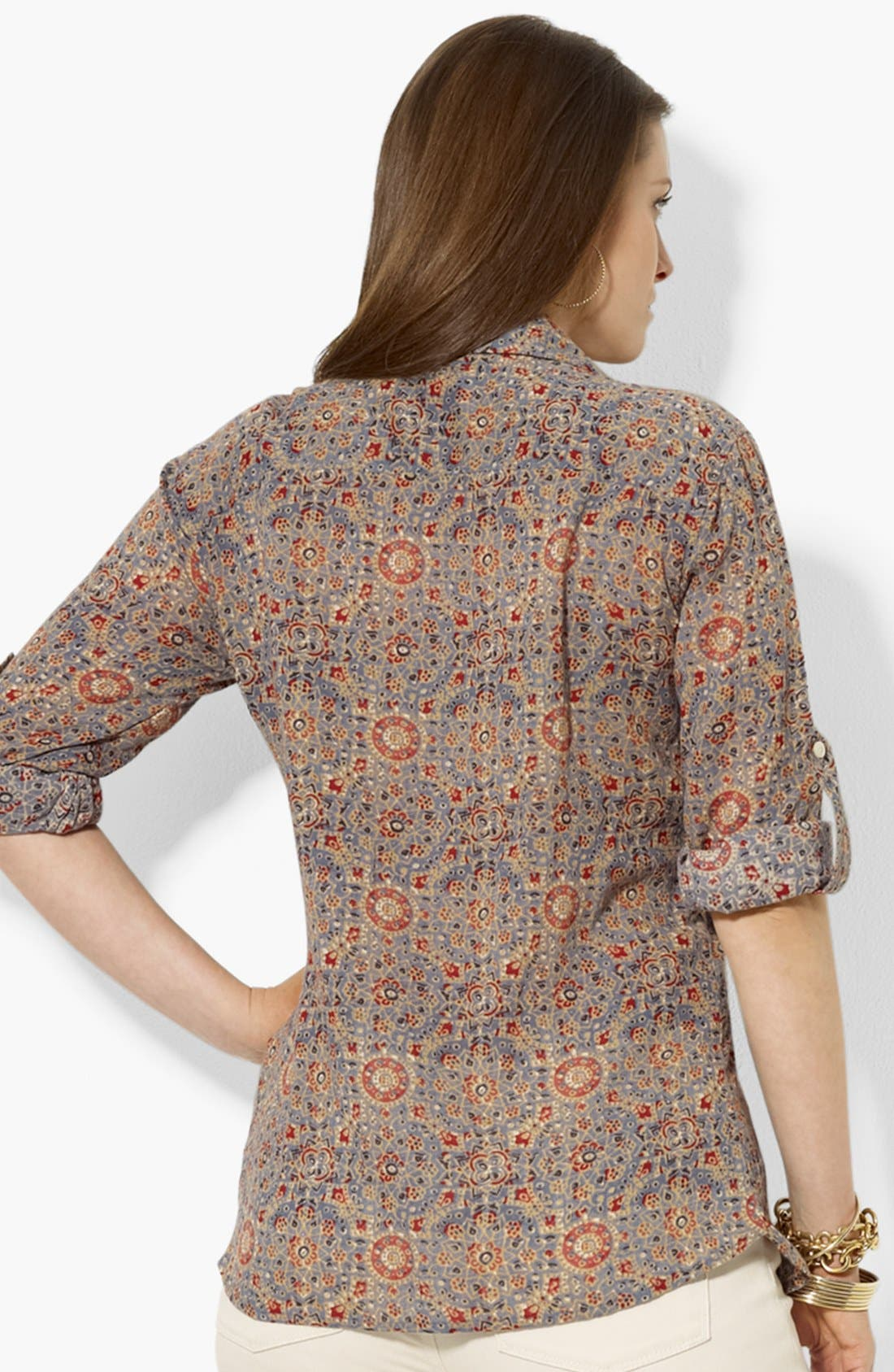 Alternate Image 2  - Lauren Ralph Lauren Print Work Shirt (Plus Size)