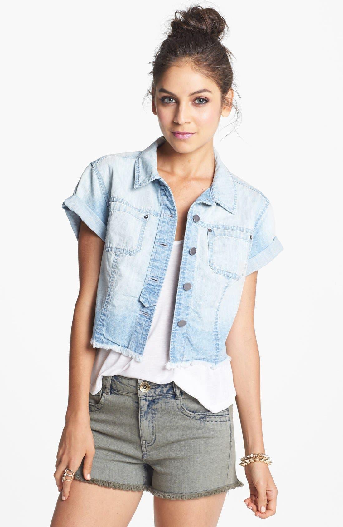 Main Image - Rubbish® Short Sleeve Denim Shirt (Juniors)