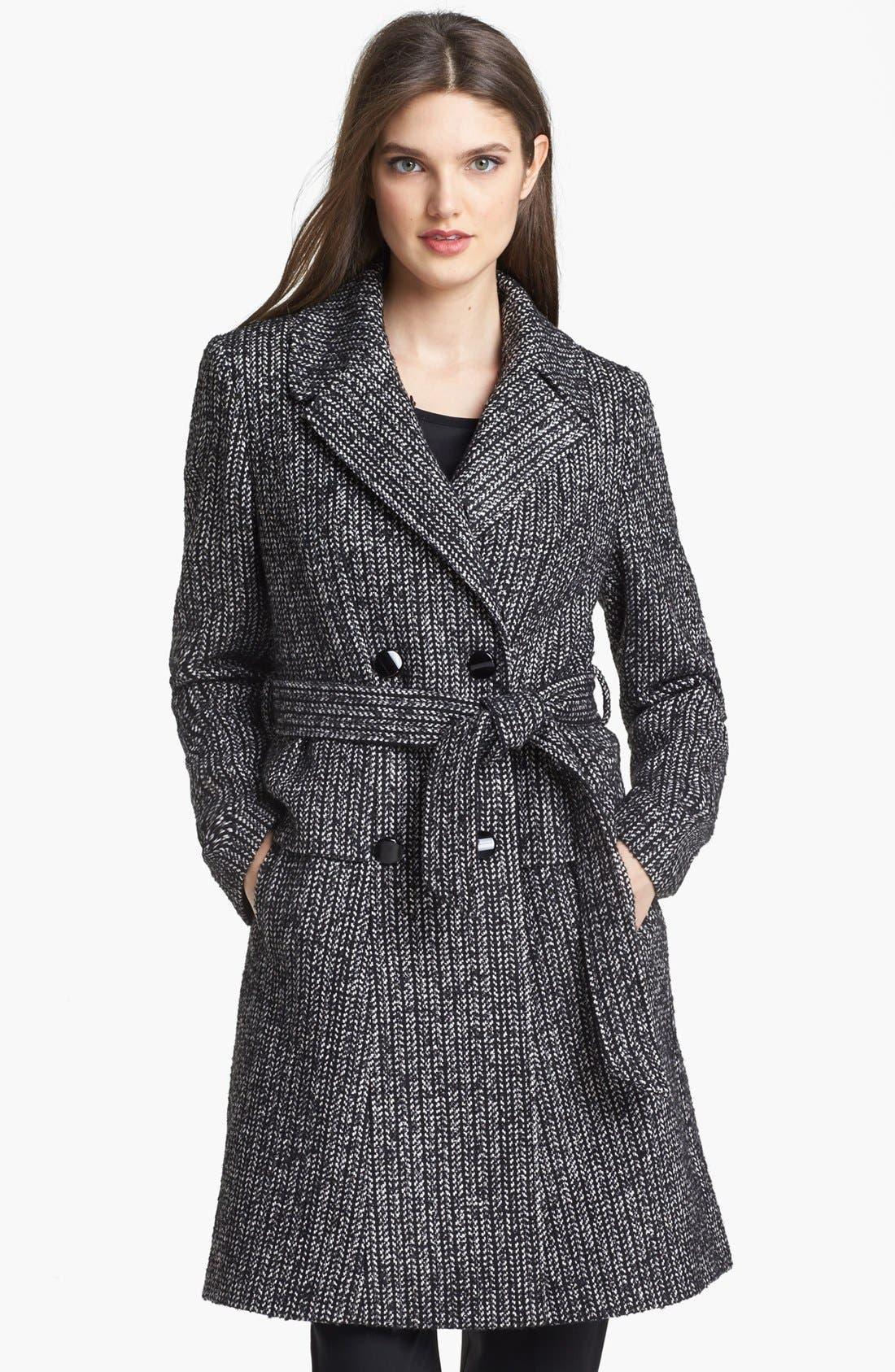 Alternate Image 4  - Ivanka Trump Belted Tweed Coat with Detachable Faux Fur Collar