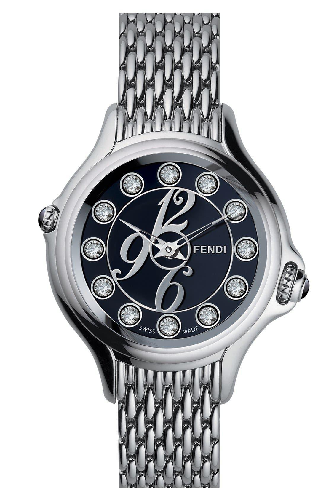 Alternate Image 2  - Fendi 'Crazy Carats' Black Dial Bracelet Watch, 38mm