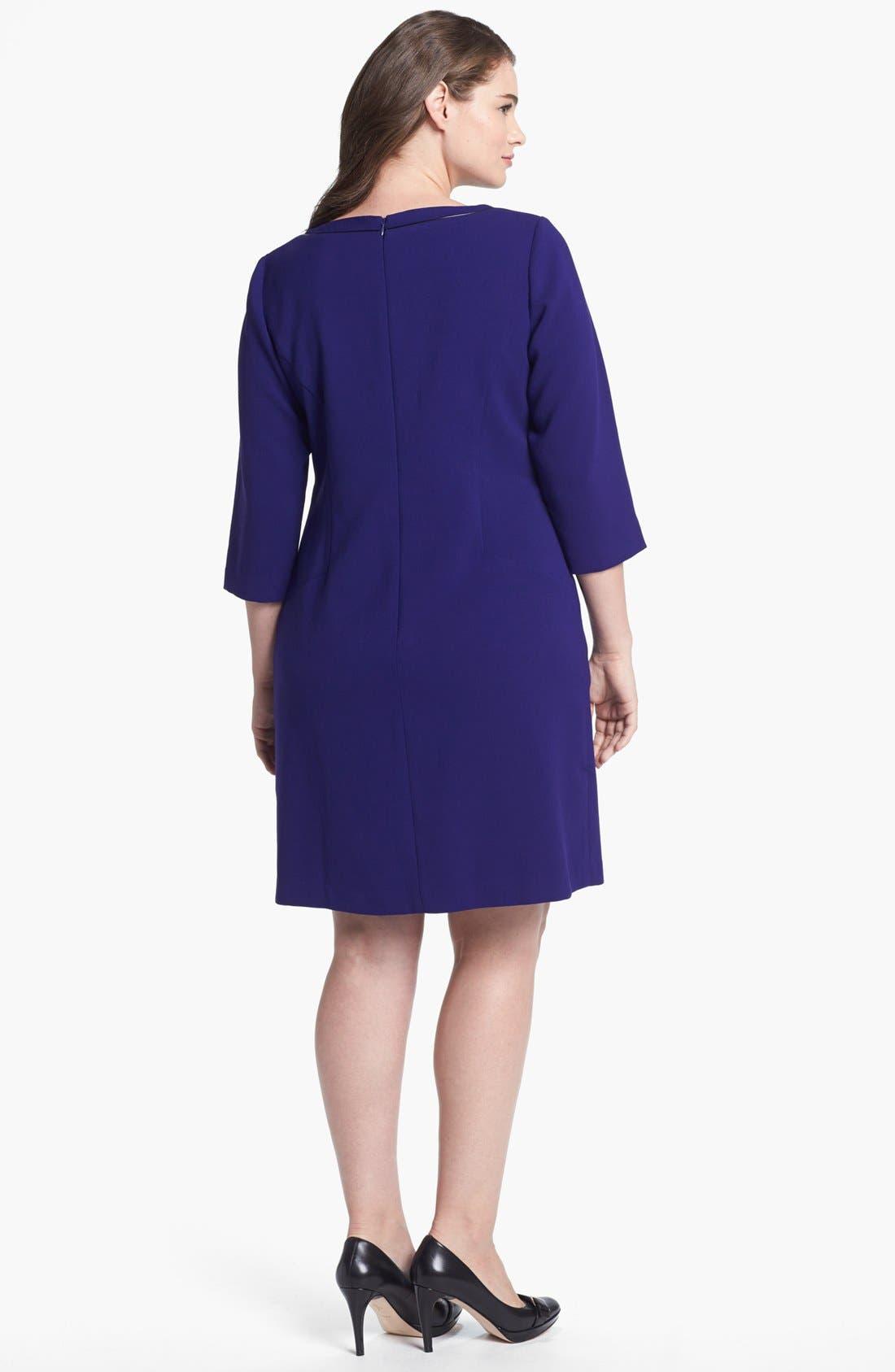 Alternate Image 2  - Eliza J Faux Leather Trim Shift Dress (Plus Size)