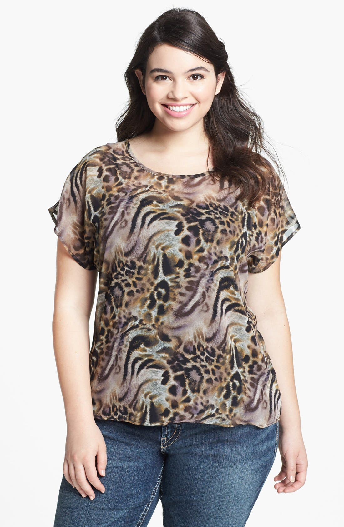Alternate Image 1 Selected - Painted Threads High/Low Print Top (Juniors Plus)