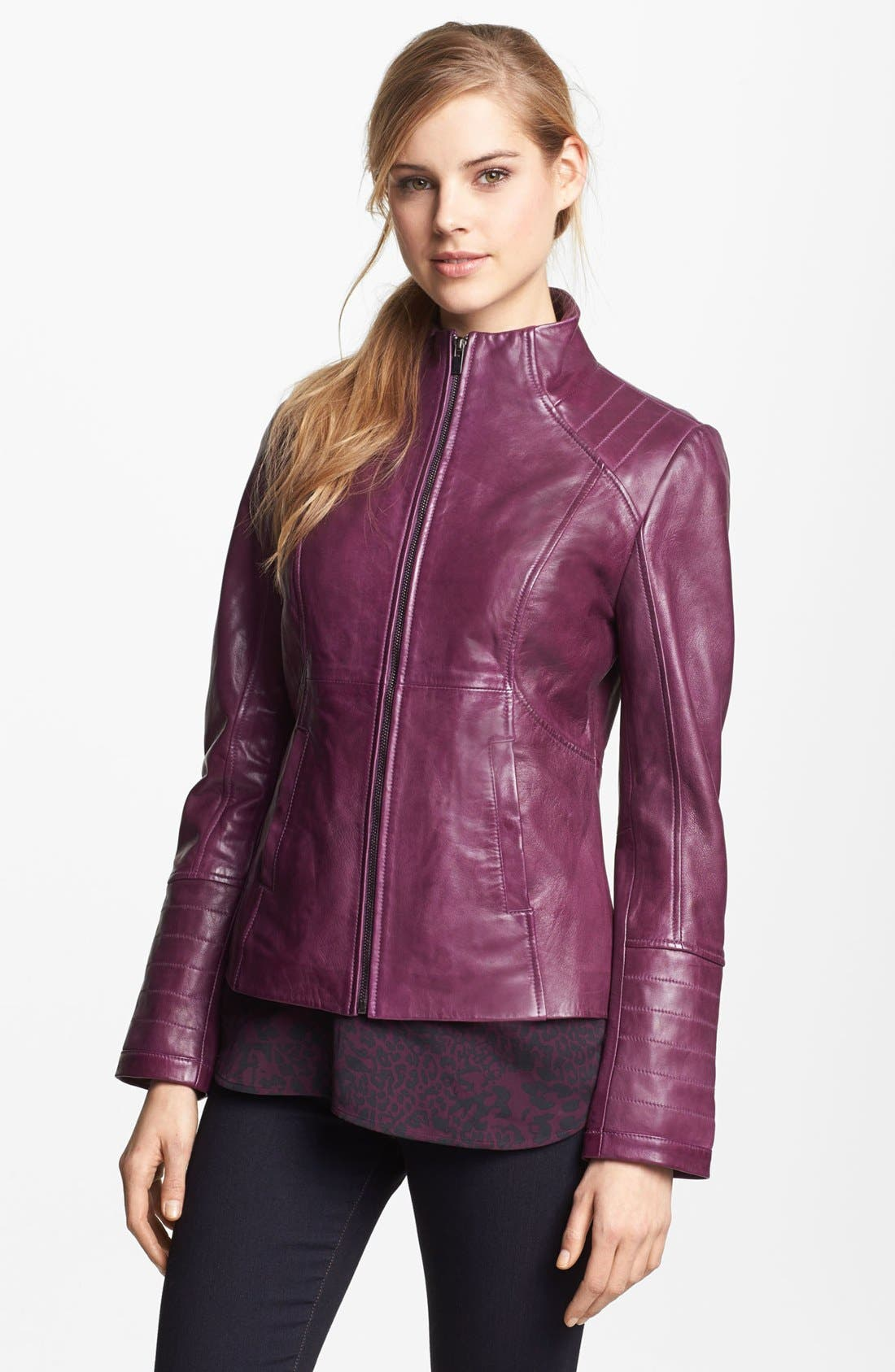 Alternate Image 4  - LaMarque Funnel Neck Leather Jacket