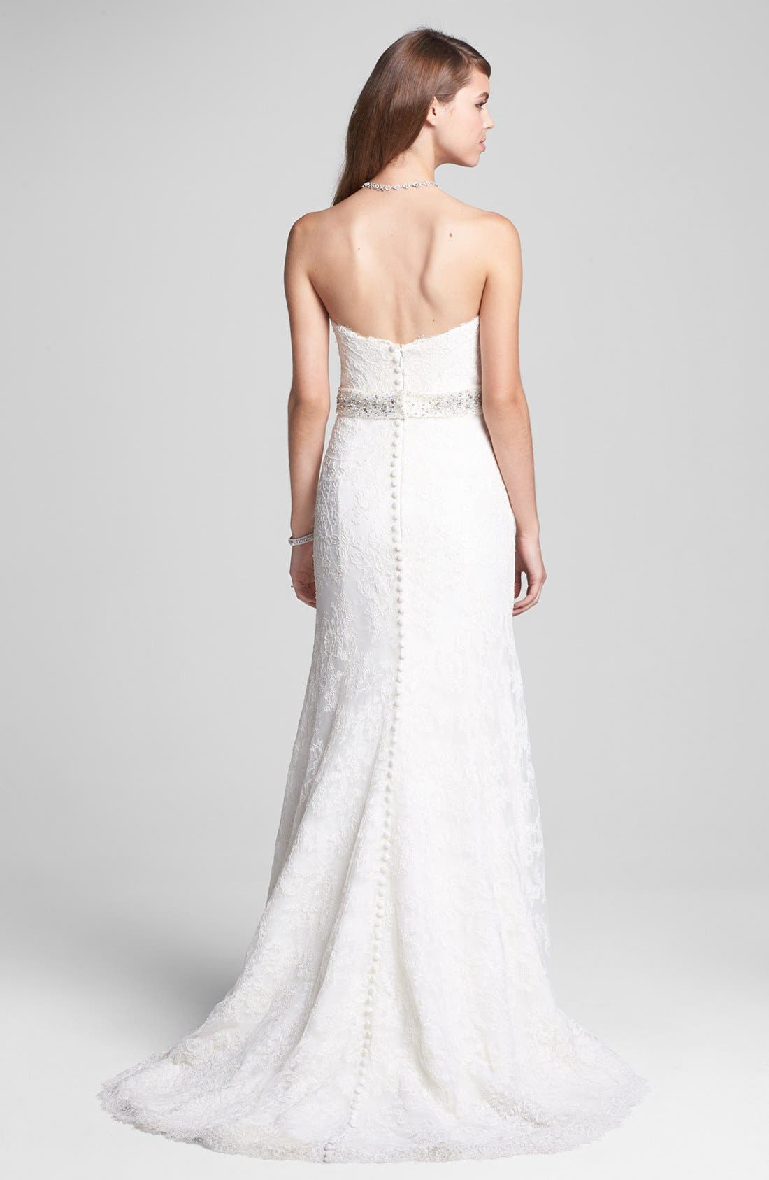 Alternate Image 2  - BLISS Monique Lhuillier Strapless Lace Wedding Dress with Beaded Waist (In Stores Only)