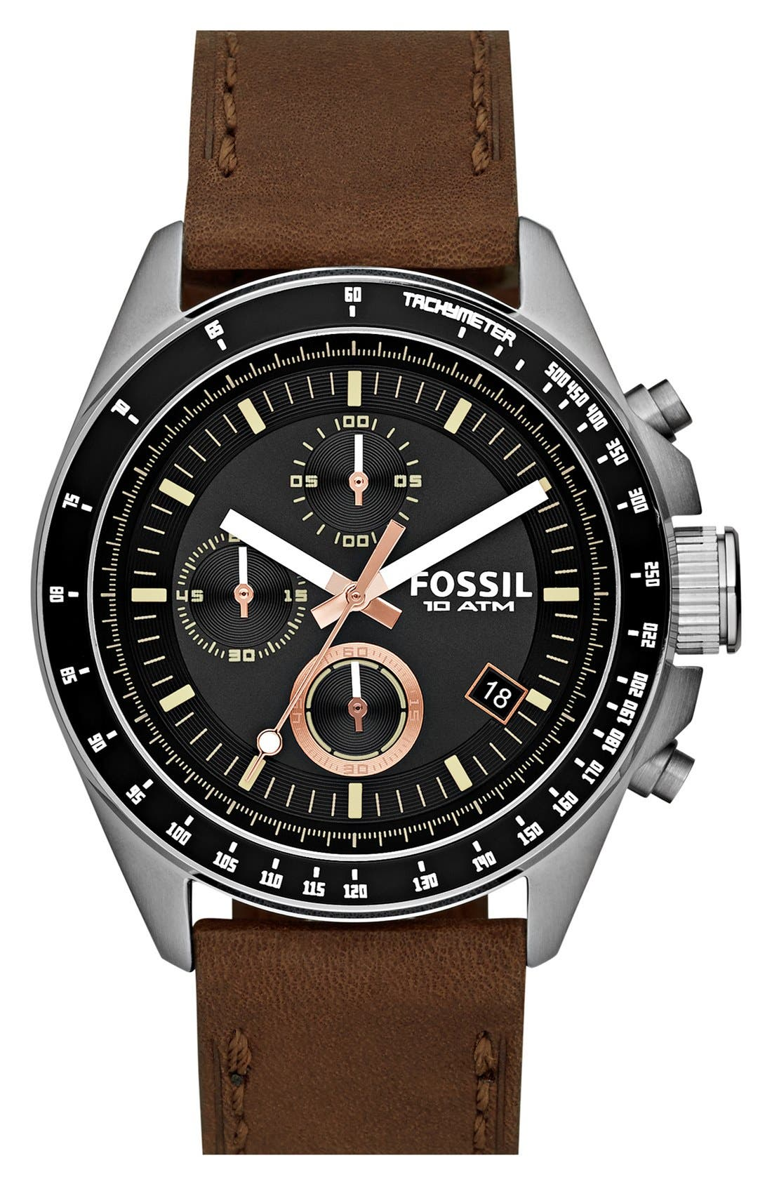 Alternate Image 1 Selected - Fossil 'Decker' Chronograph Leather Strap Watch, 45mm