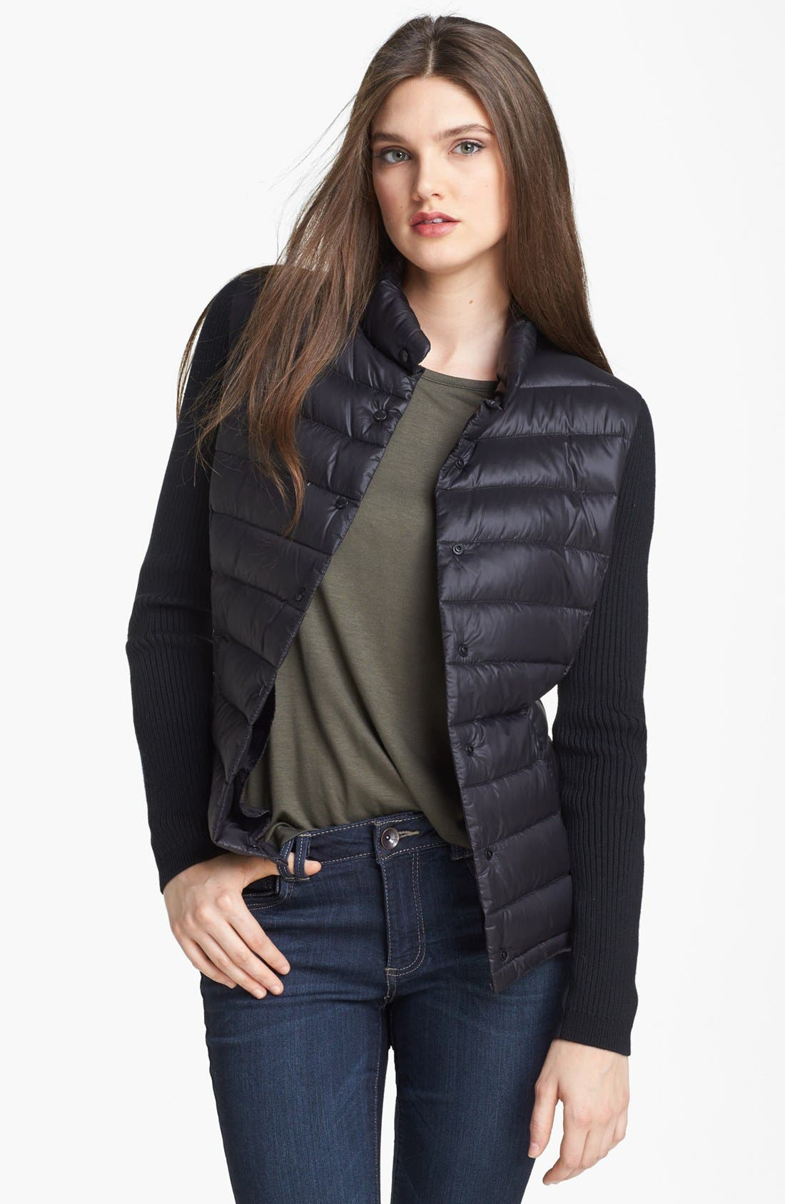 Alternate Image 1 Selected - Calvin Klein Knit Sleeve Down Jacket