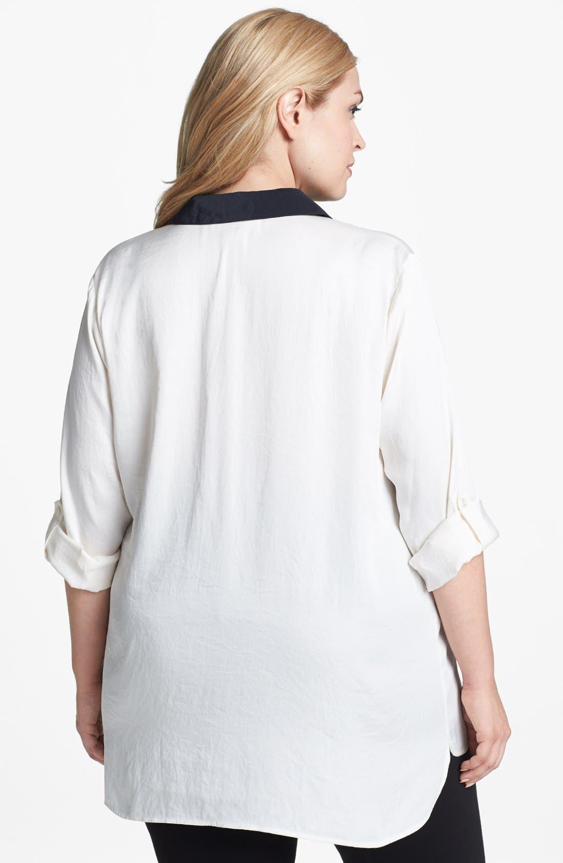 Alternate Image 2  - MICHAEL Michael Kors Contrast Trim Tunic Shirt (Plus Size)