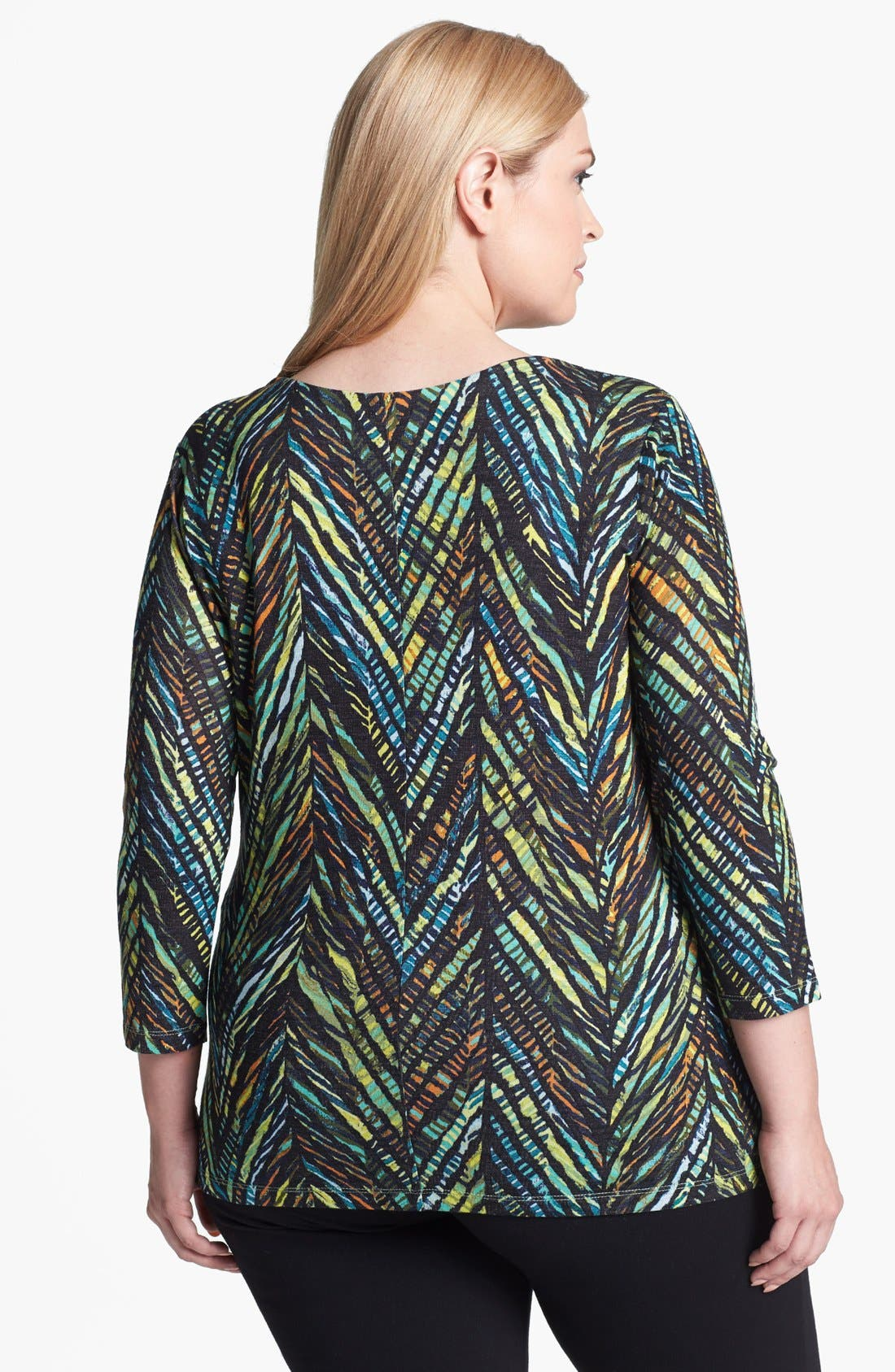Alternate Image 2  - NIC+ZOE Print Faux Wrap Jersey Top (Plus Size)