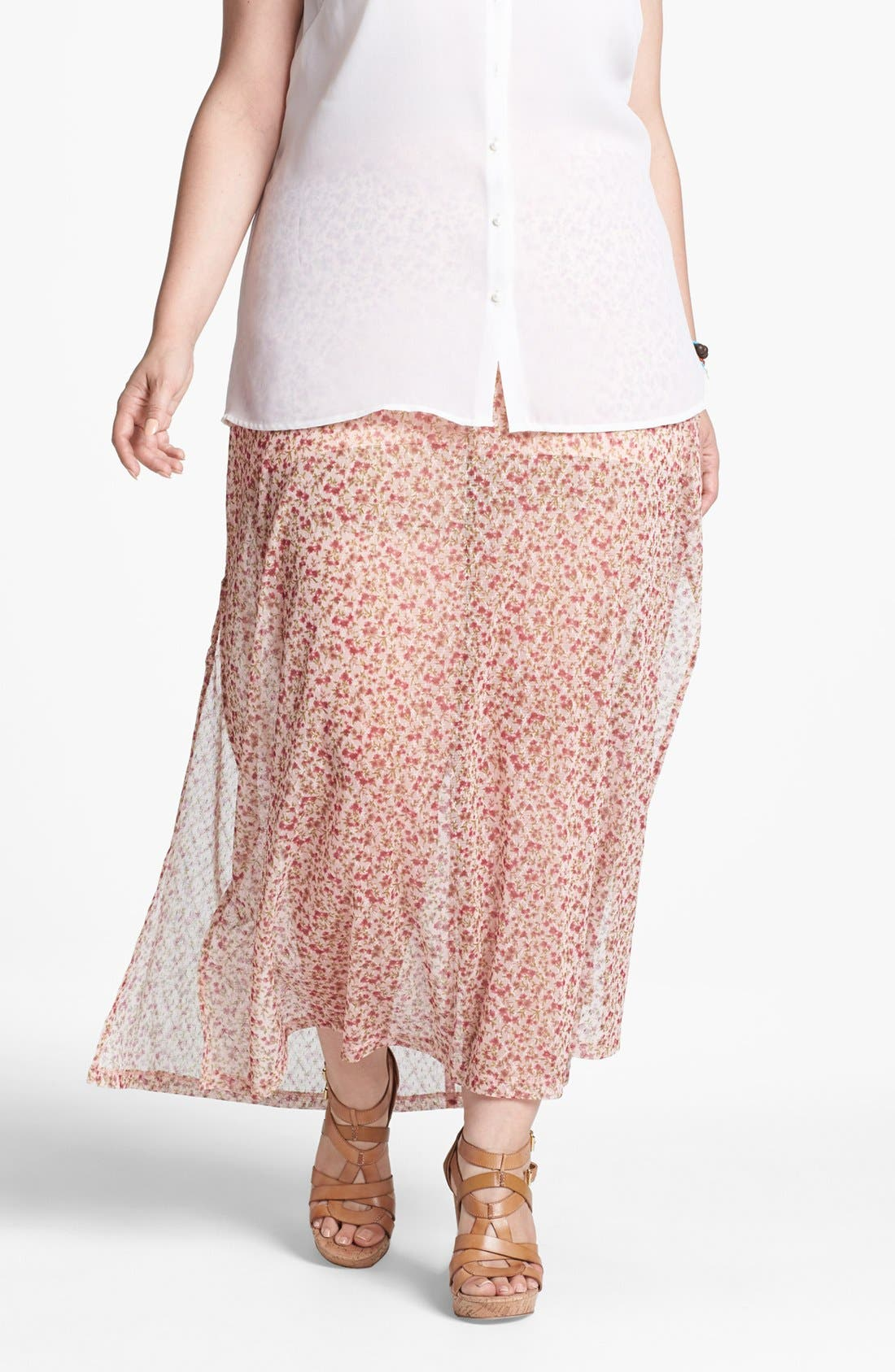 Main Image - Mimi Chica Print Sheer Maxi Skirt (Juniors Plus)