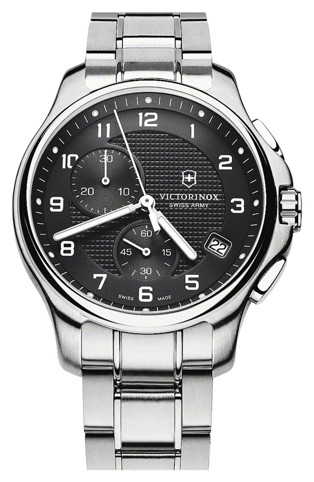 Alternate Image 1 Selected - Victorinox Swiss Army® 'Officer's' Chronograph Bracelet Watch, 42mm
