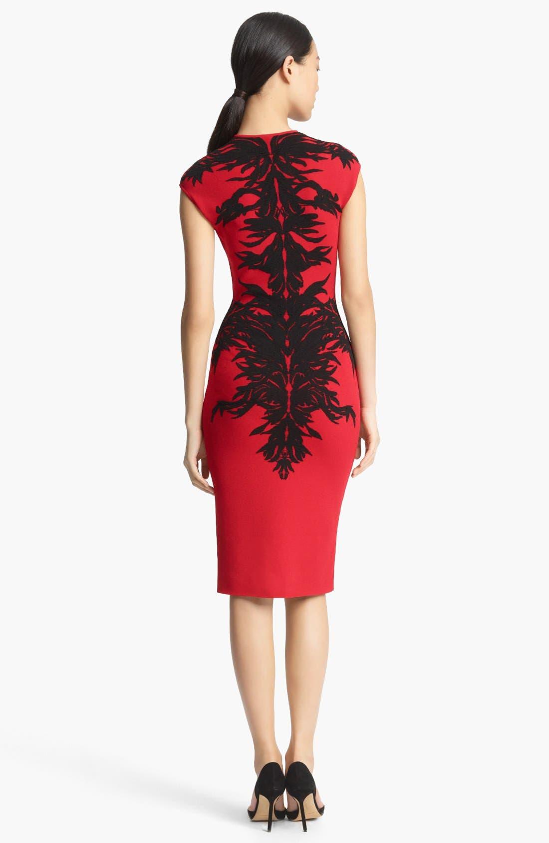 Alternate Image 2  - Alexander McQueen Spine Print Intarsia Knit Dress
