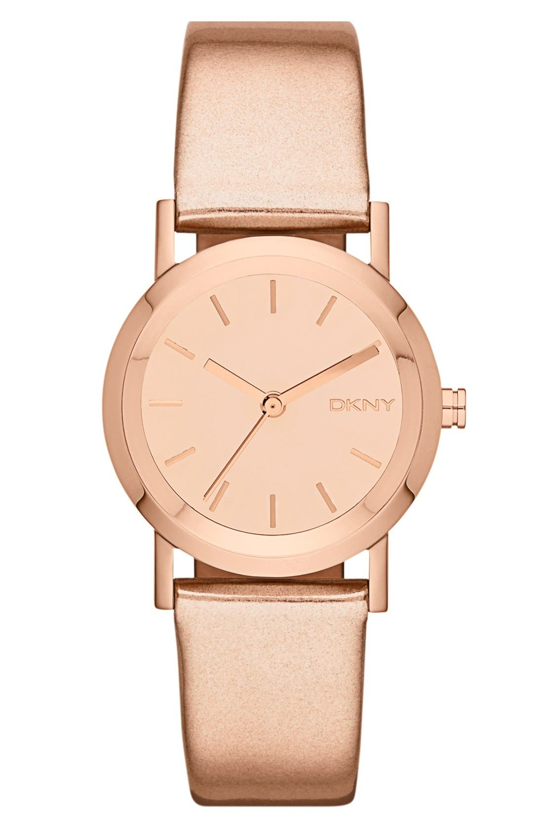 Alternate Image 1 Selected - DKNY Mirror Dial Metallic Leather Strap Watch, 28mm